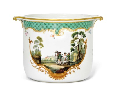 A MEISSEN TWO-HANDLED WINE-COO