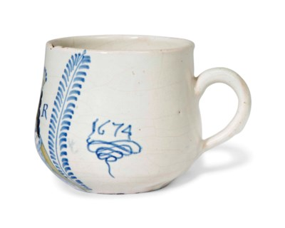 AN ENGLISH DELFTWARE DATED ROY
