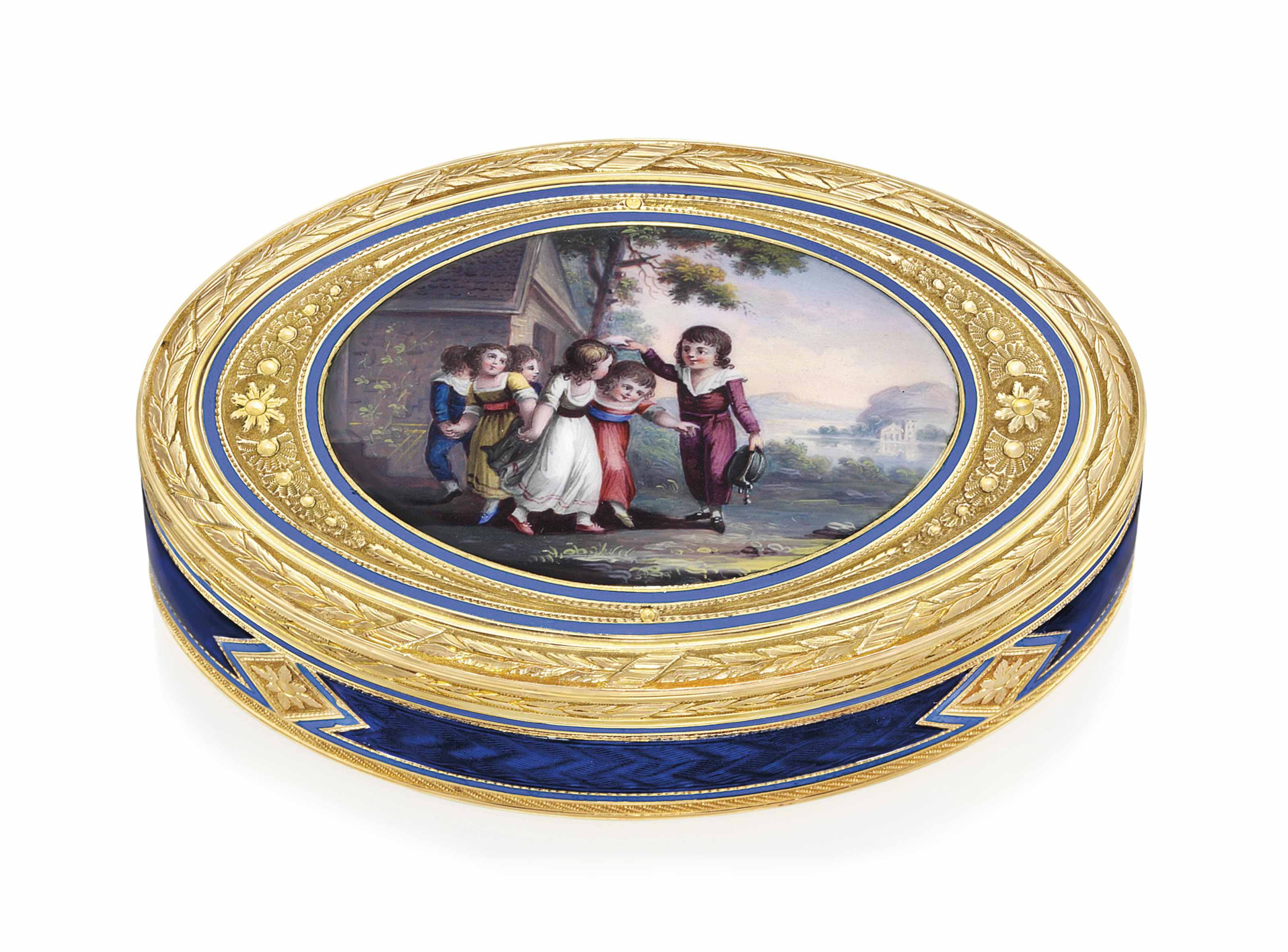 A SWISS ENAMELLED GOLD SNUFF-BOX