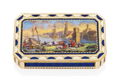 A RUSSIAN ENAMELLED GOLD SNUFF