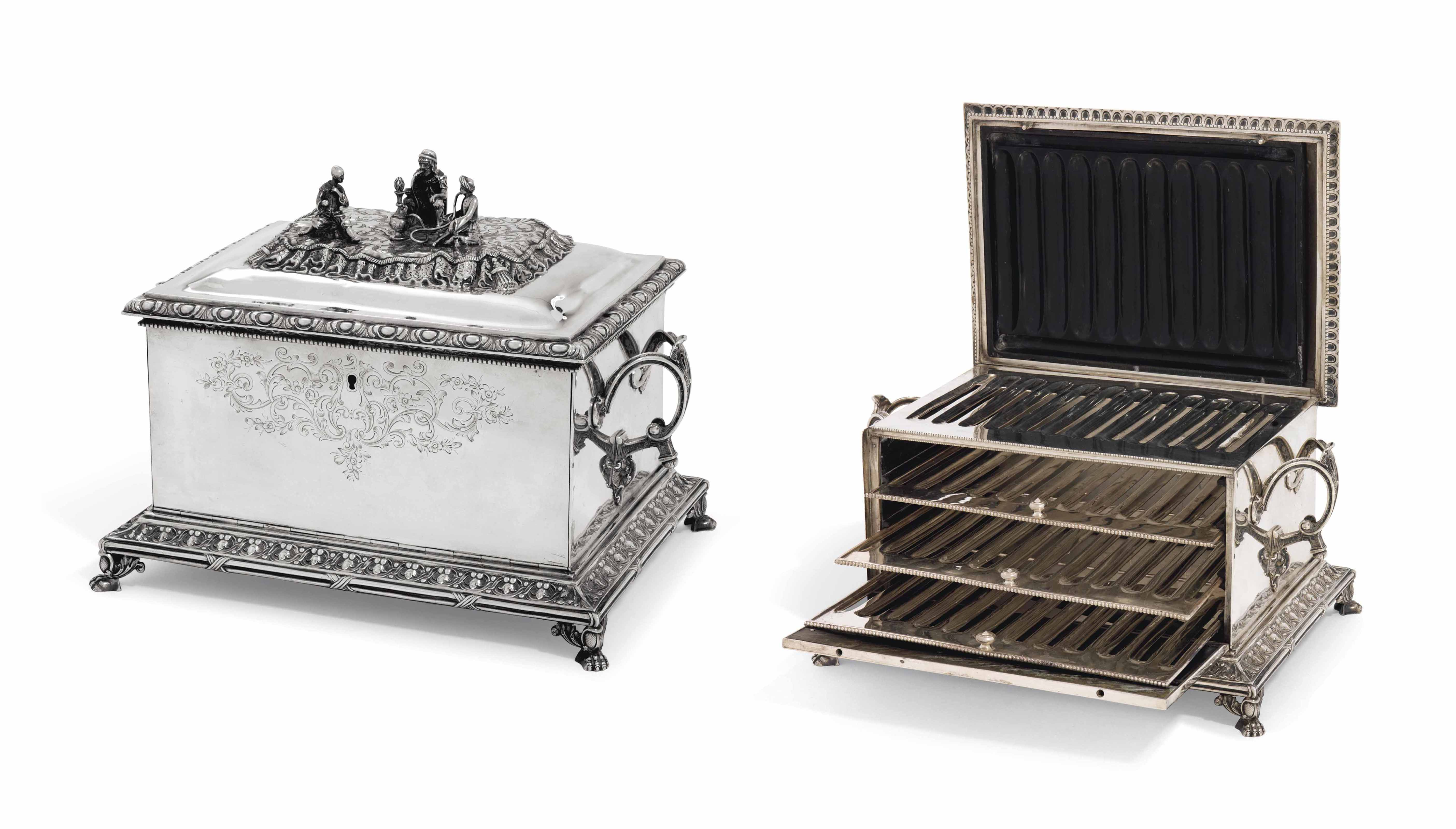 A FRENCH SILVER CIGAR HUMIDOR