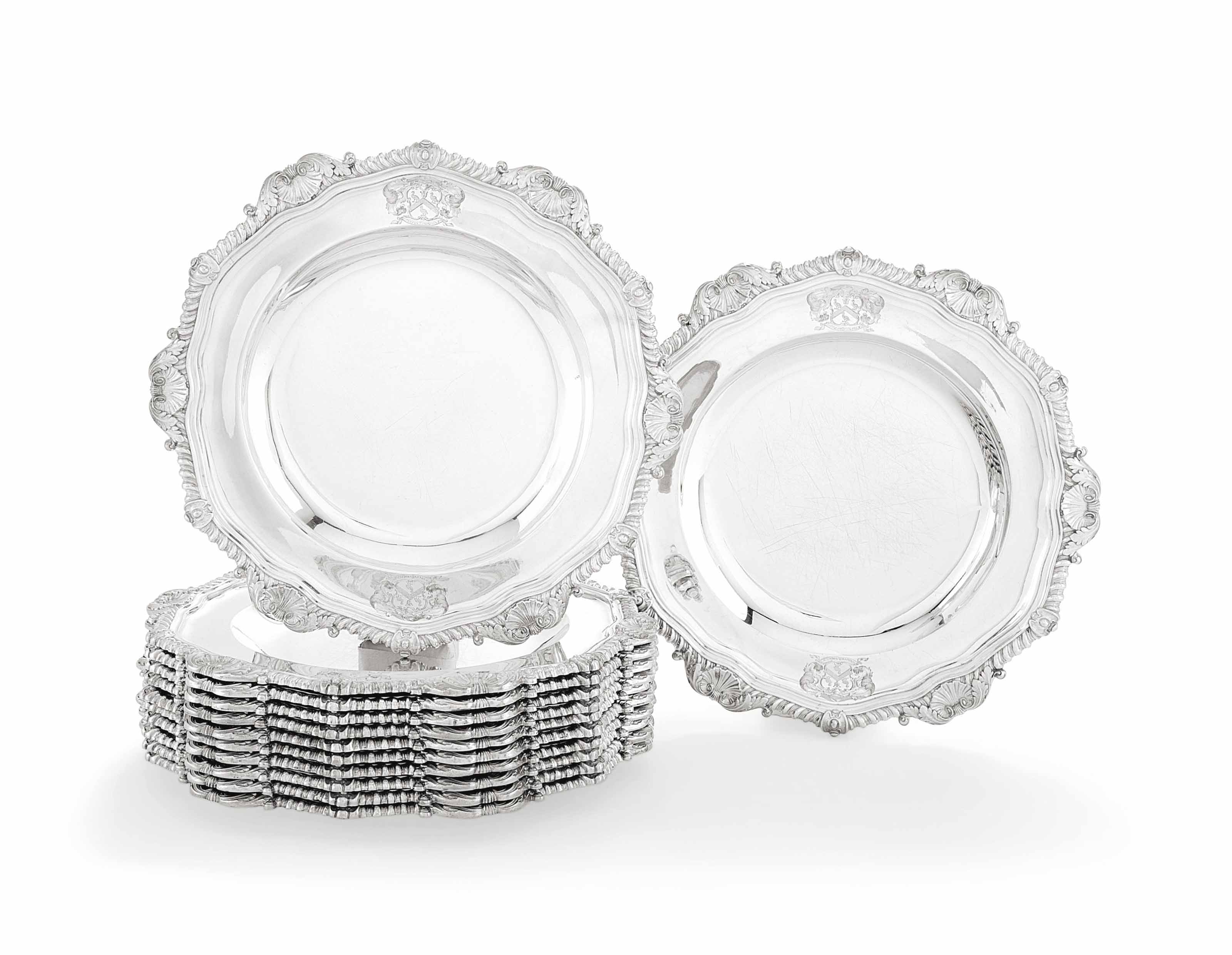 A SET OF TWELVE GEORGE III SILVER DINNER-PLATES