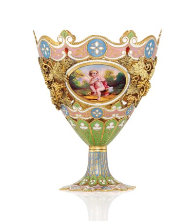 A SWISS ENAMELLED GOLD ZARF