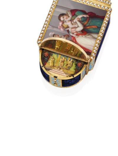 A SWISS JEWELLED ENAMELLED AND