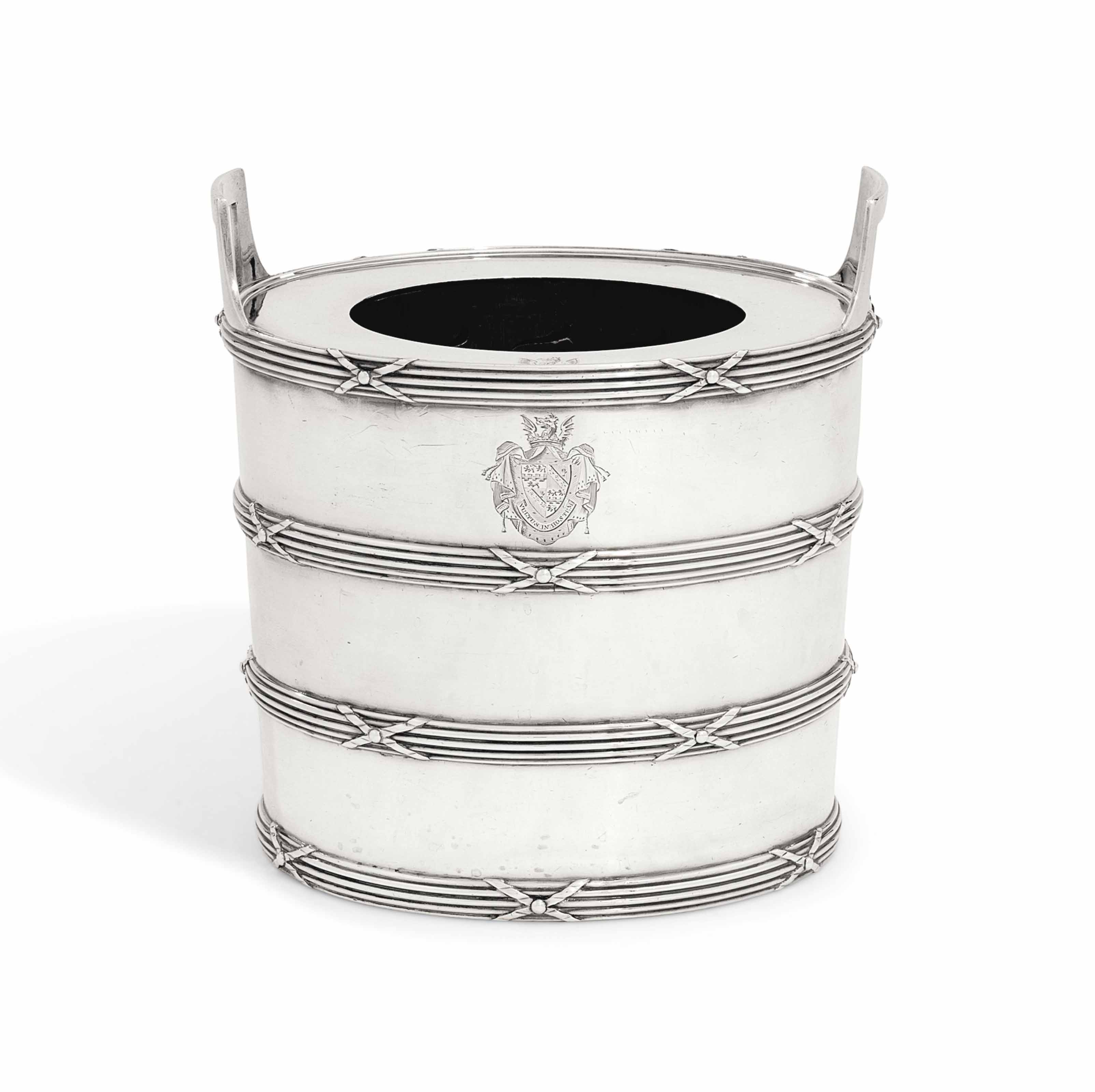 A GEORGE III SILVER WINE-COOLER, COLLAR AND LINER