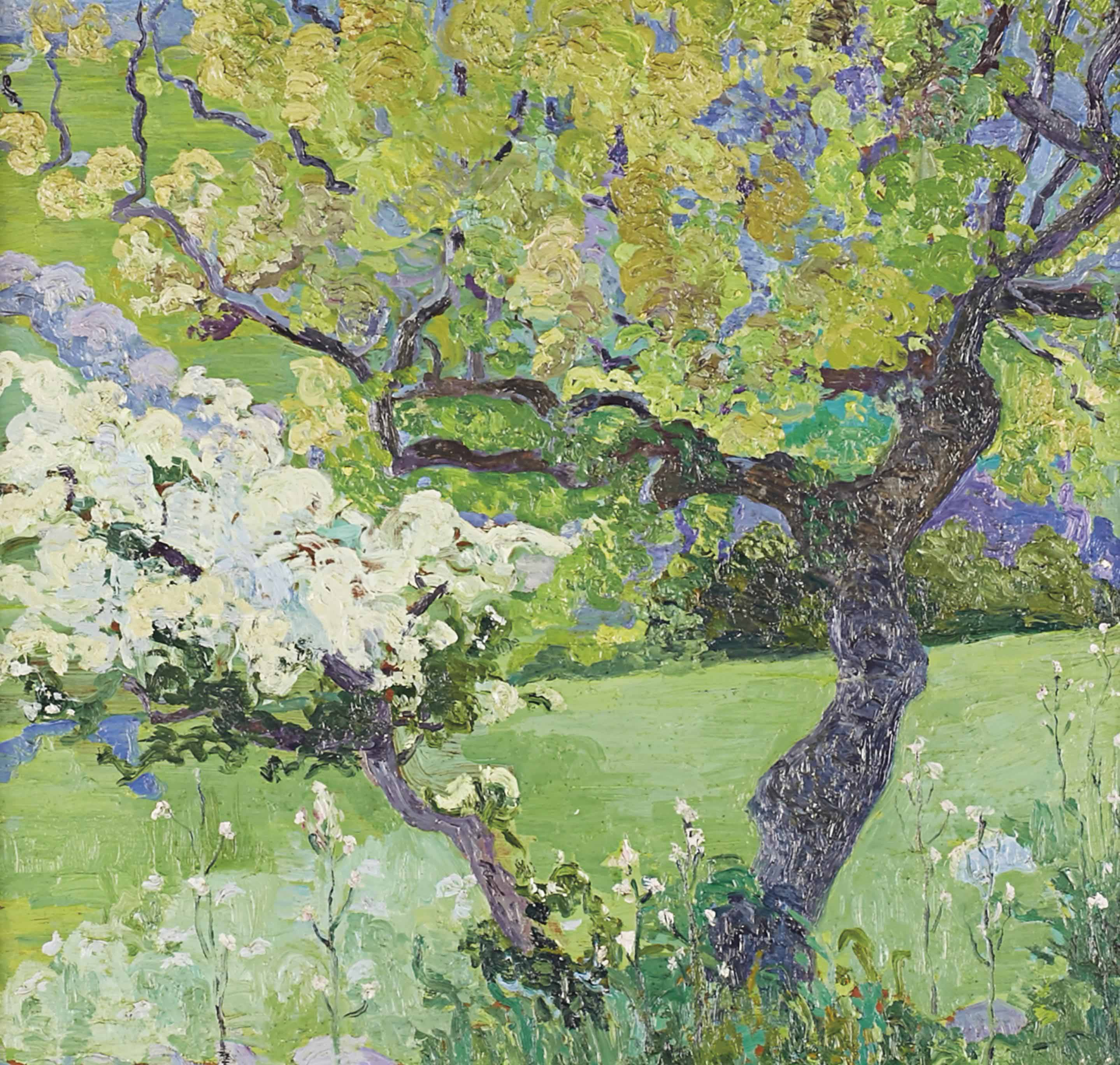 Arboles floridos en prado verde