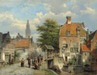 Figures on a bridge by a Dutch canal