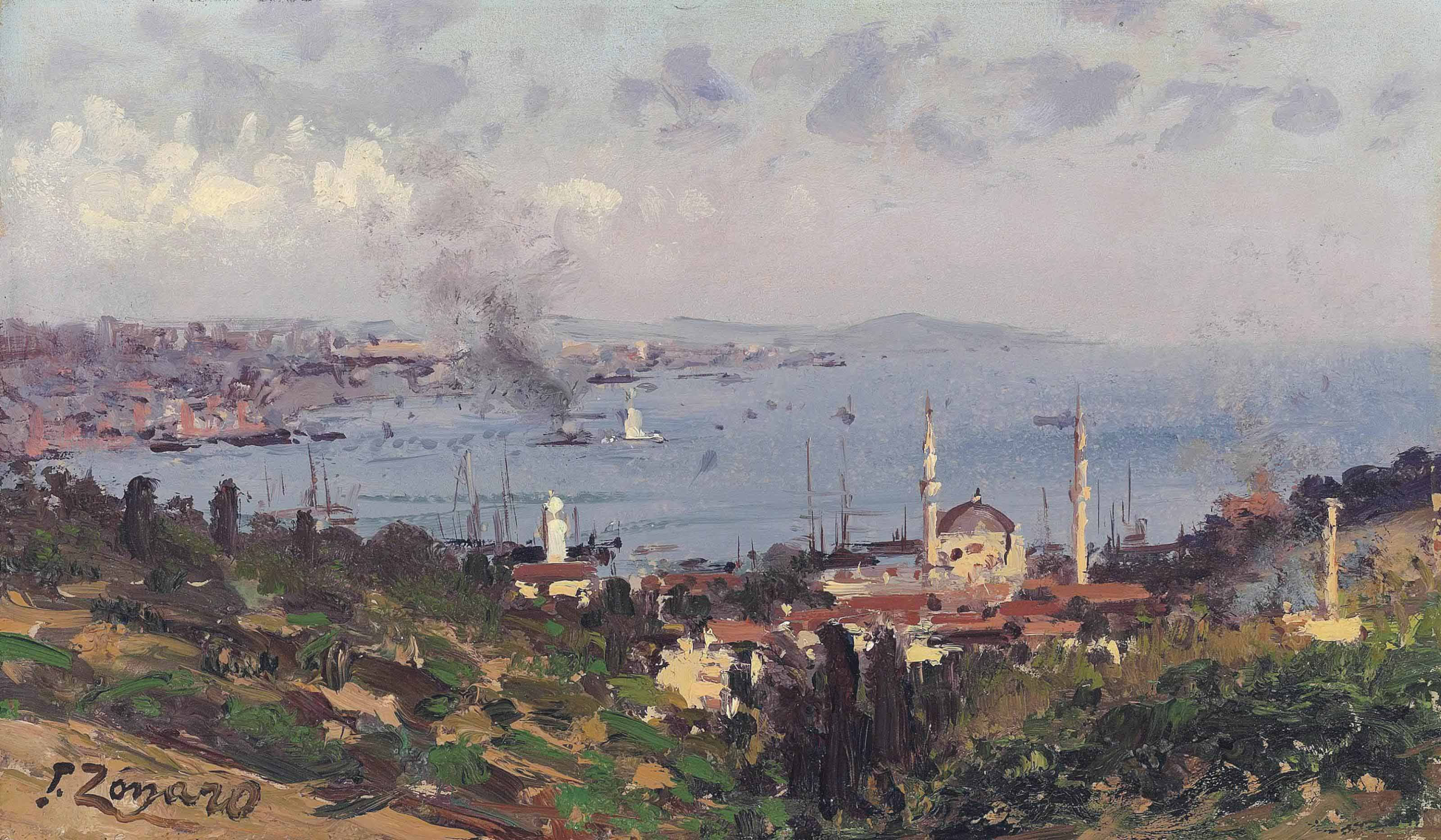 View of Nisantasi with the Dolmabahçe Mosque, Constantinople