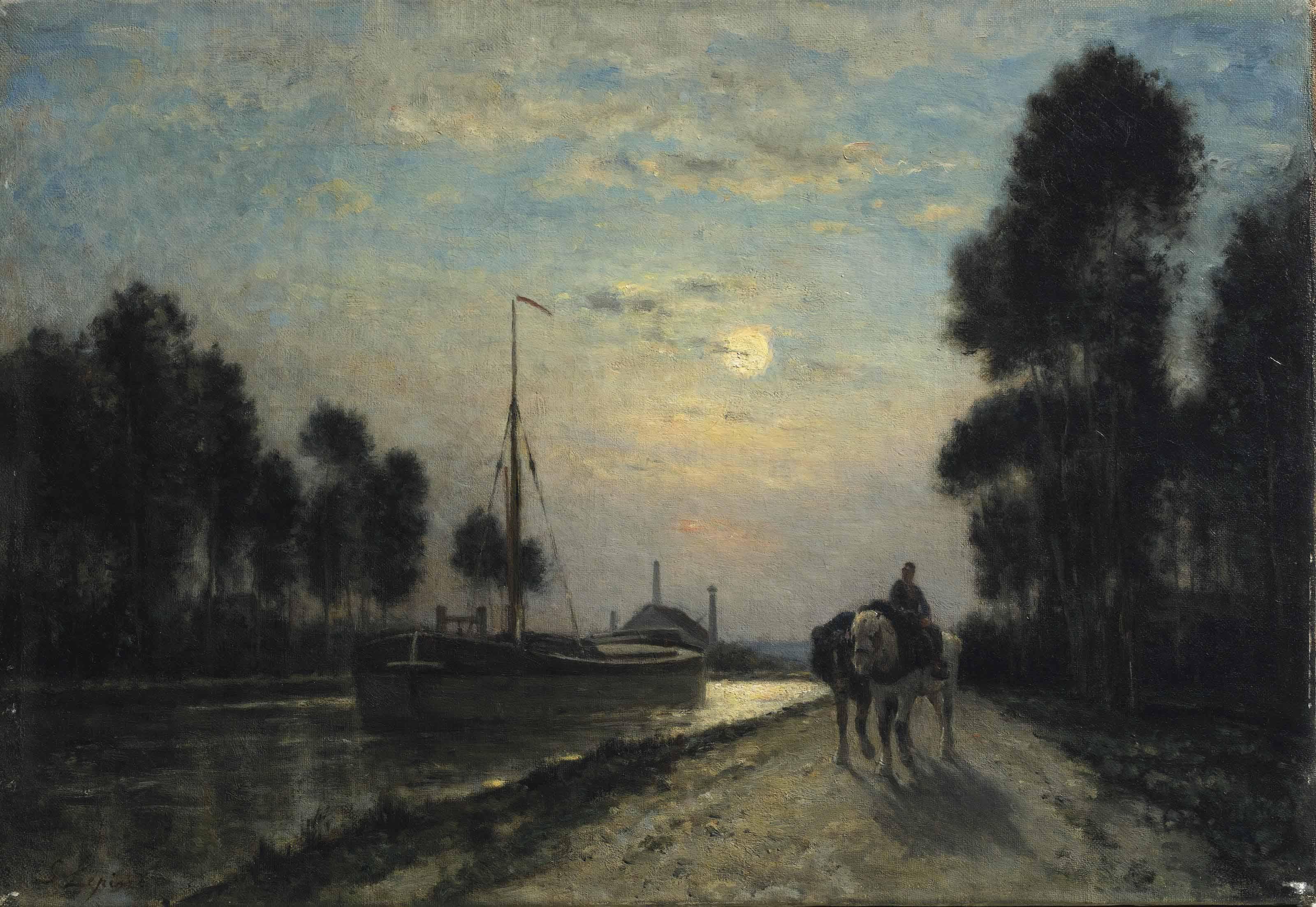 Le Canal de l'Ourcq. Chemin de halage, effet de lune