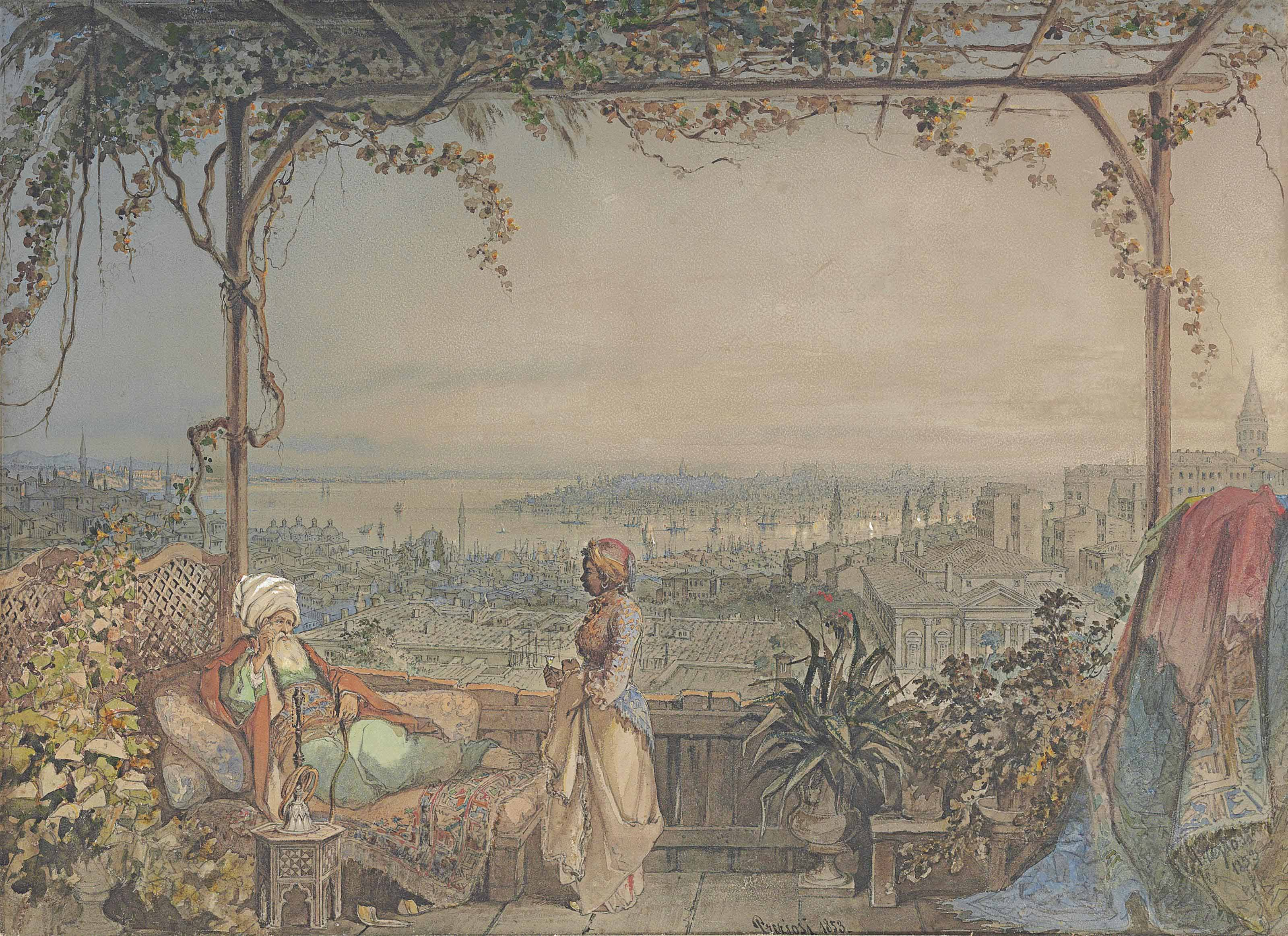 Pasha and maid on a balcony in Pera overlooking Constantinople