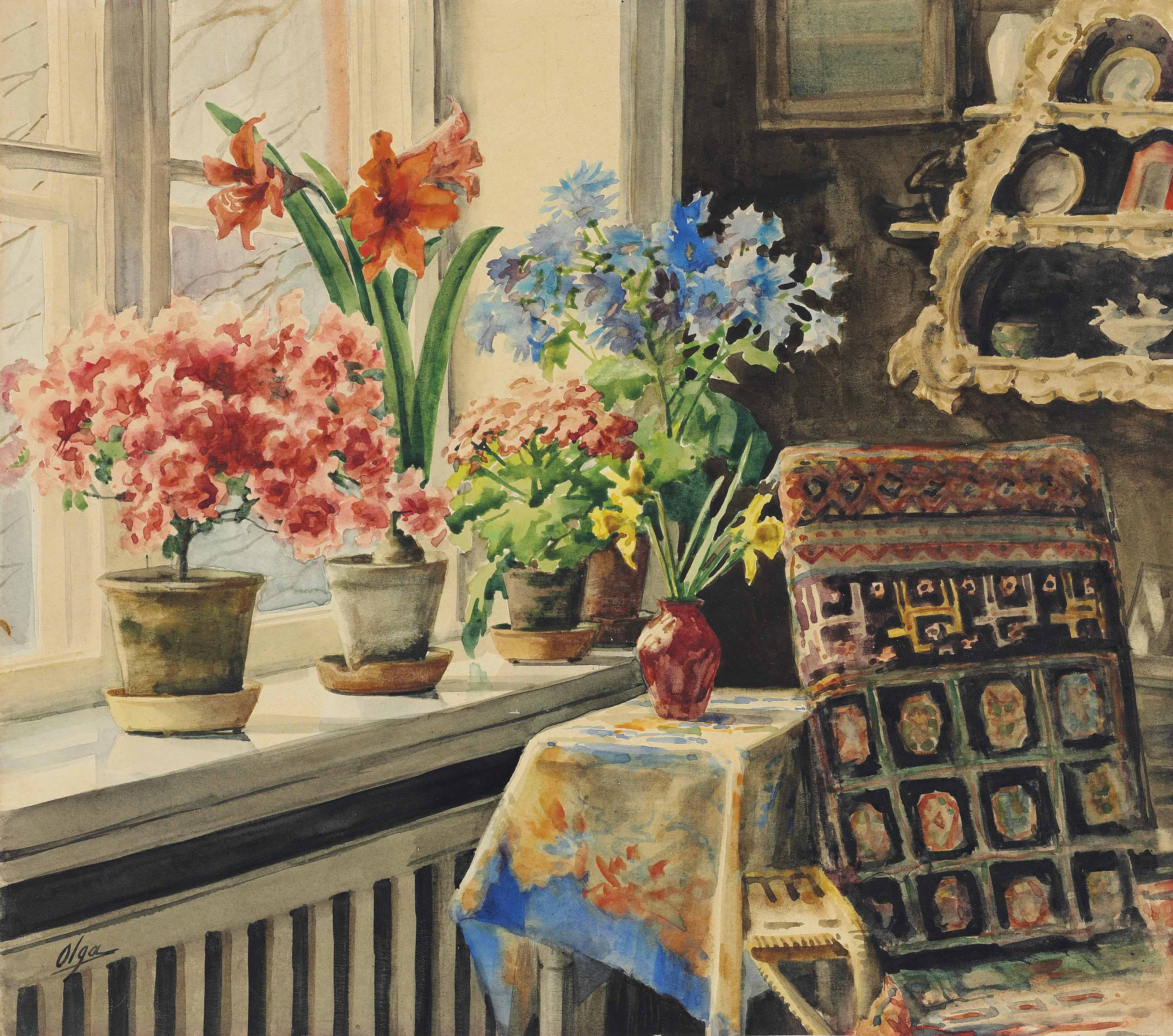 Still life with azaleas, amaryllis, geraniums, cornflowers and daffodils