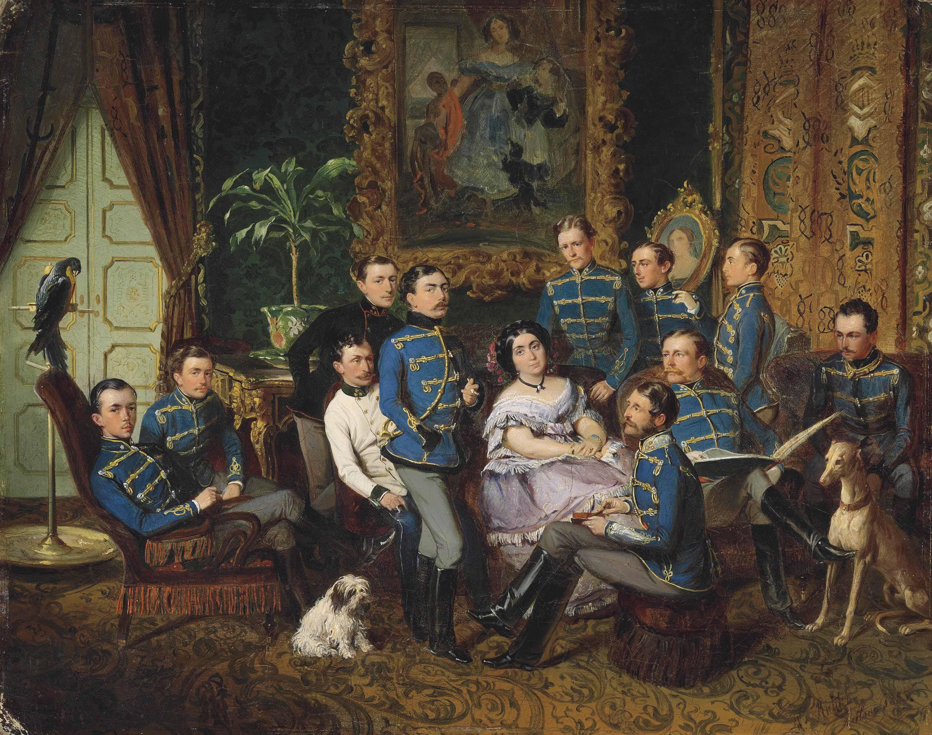 Portrait of Countess Julia Samoilova (1803-1875) with Austrian Hussars