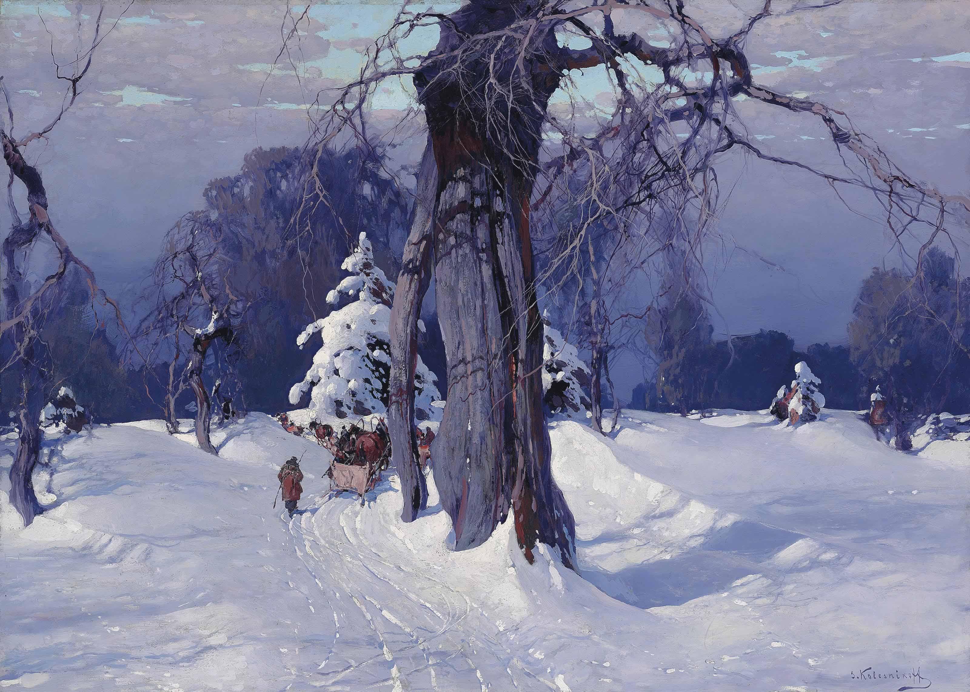 Stepan Kolesnikoff 1879 1955 Through The Snowy Woods 20th