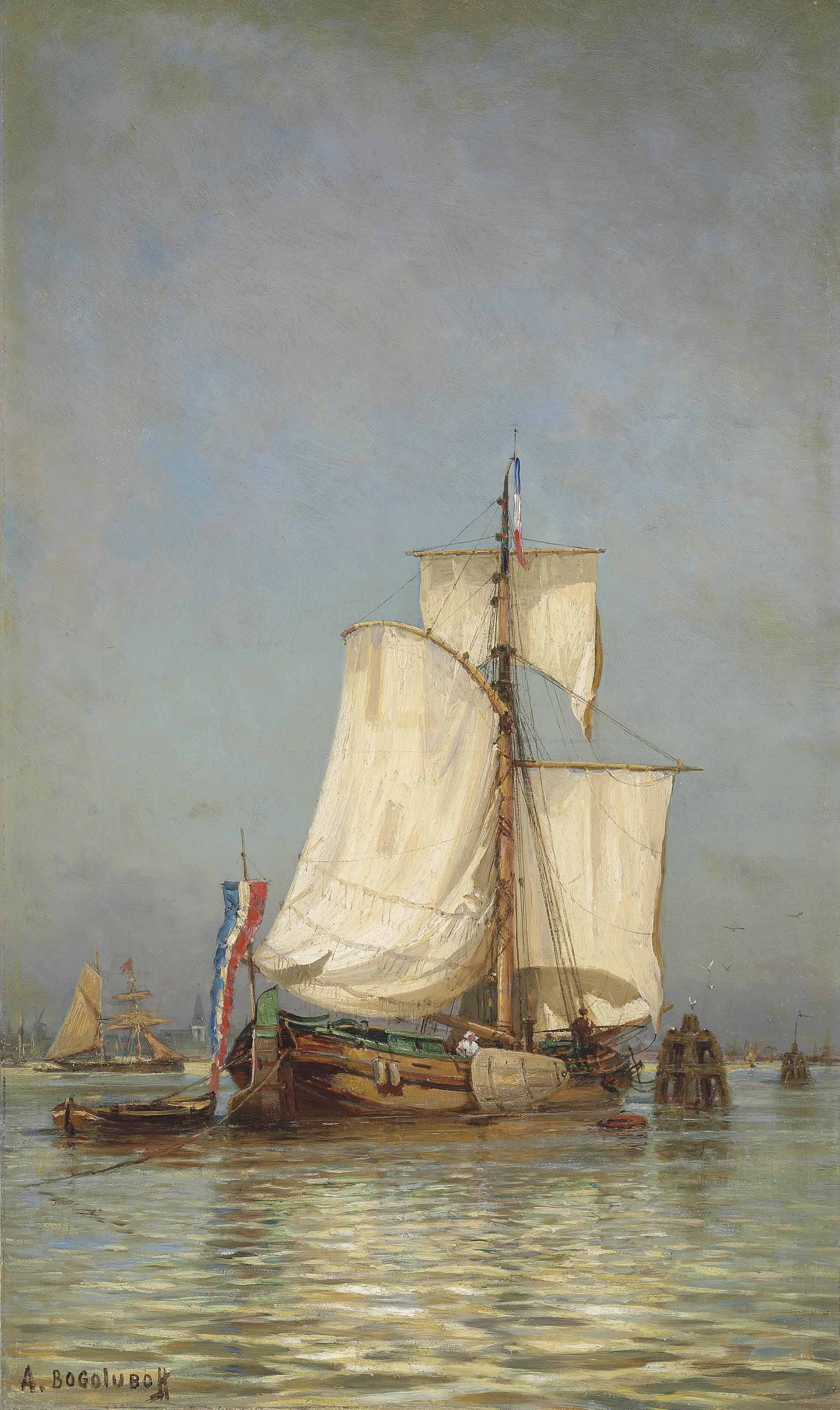 A pair of maritime scenes: A fishing vessel in Holland; and A sailing Yacht near Naples