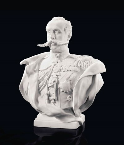 A BISCUIT PORCELAIN BUST OF CO