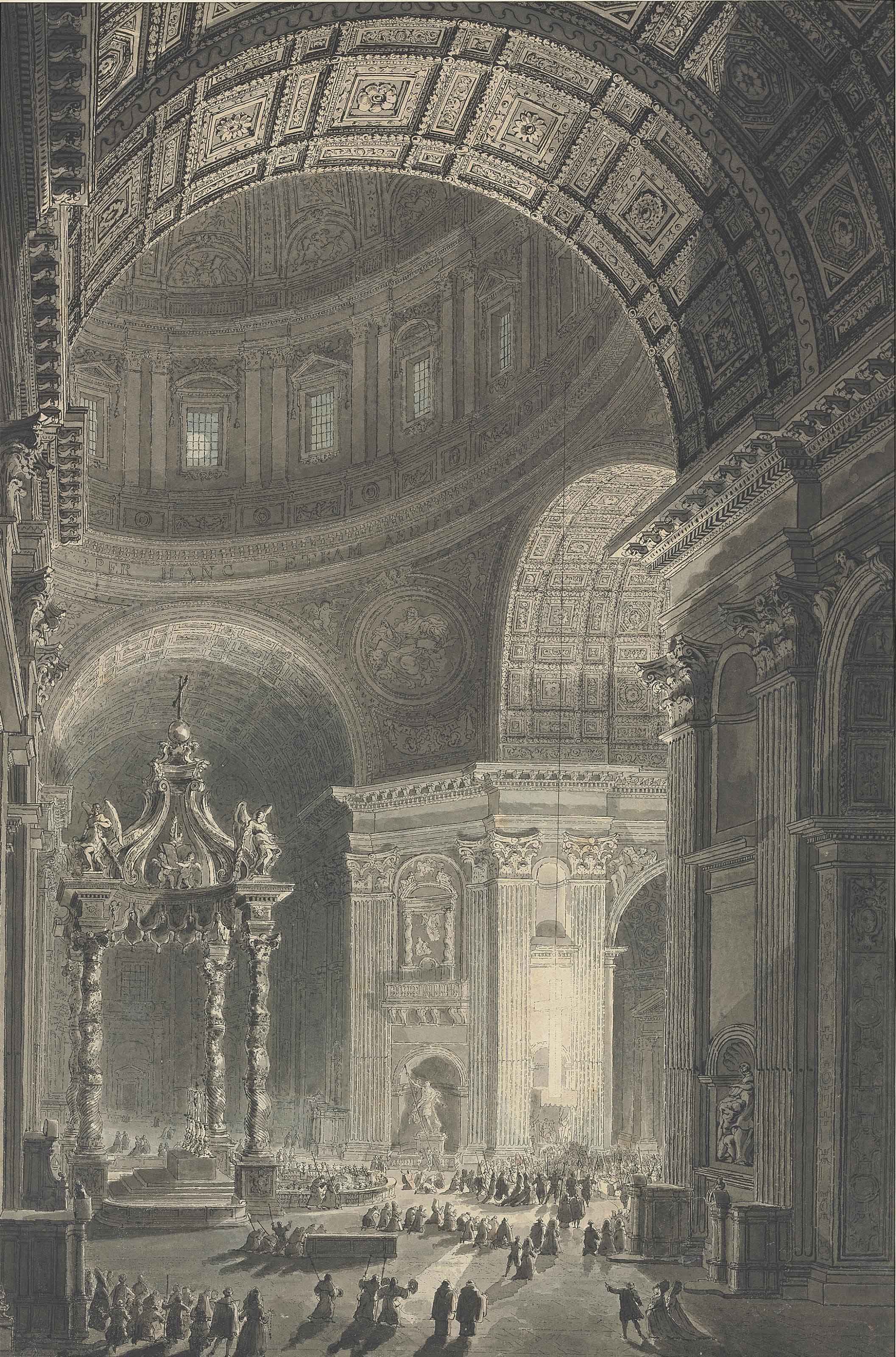 Illumination de la Croix de Saint-Pierre (An Interior of St. Peter's from the South Transept, with the Baldacchino, the Illuminated Hanging Cross, and St. Longinus)