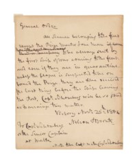 NELSON, Horatio, Viscount (1758-1805). Autograph set of orders signed ('Nelson & Bronte') to Captain [Alexander Wilmot] Schomberg, Senior Captain at Malta, Victory, 25 November 1804, one page, 4to (228 x 183mm), (remains of mount on verso).