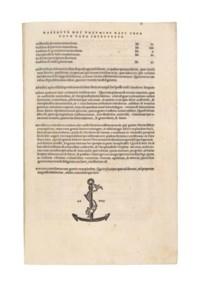 ARISTOTLE (384-322 B.C.). De natura animalium. –De partibus animalium, and other texts. Translated by Theodorus Gaza (c. 1400-c. 1475). Venice: Aldus Manutius, May 1503-March 1504.