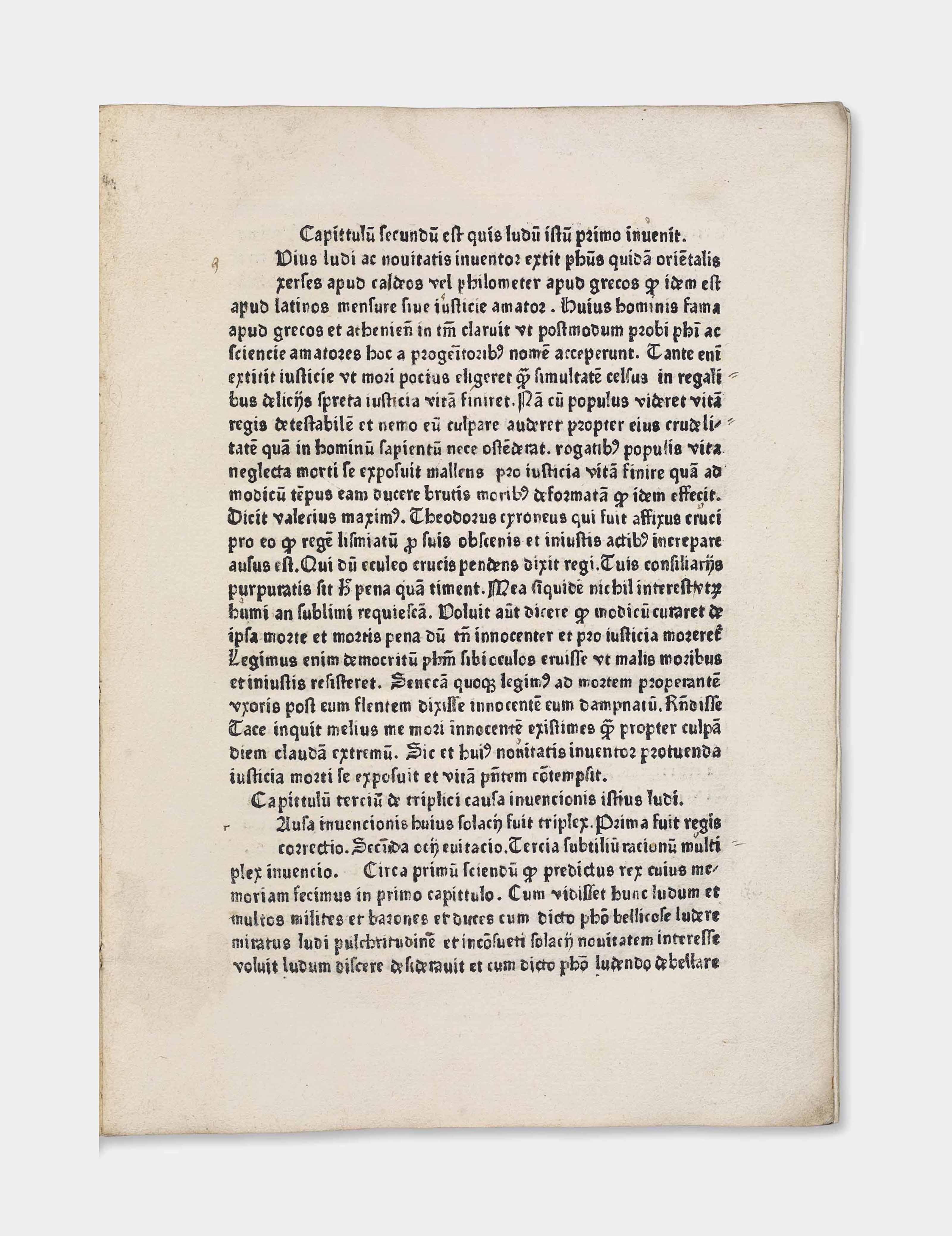 JACOBUS DE CESSOLIS (fl. late 13th century). De ludo scachorum. [Utrecht: Nicolaus Ketelaer and Gerardus de Leempt, 1474].