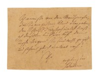 SCHILLER, Friedrich (1759-1805). Autograph note signed ('Schiller') to an unidentified recipient, n.p., n.d.