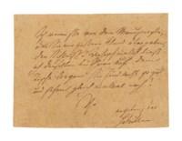 SCHILLER, Friedrich (1759-1805). Autograph note signed ('Schiller') to an unidentified recipient, n.p., n.d.
