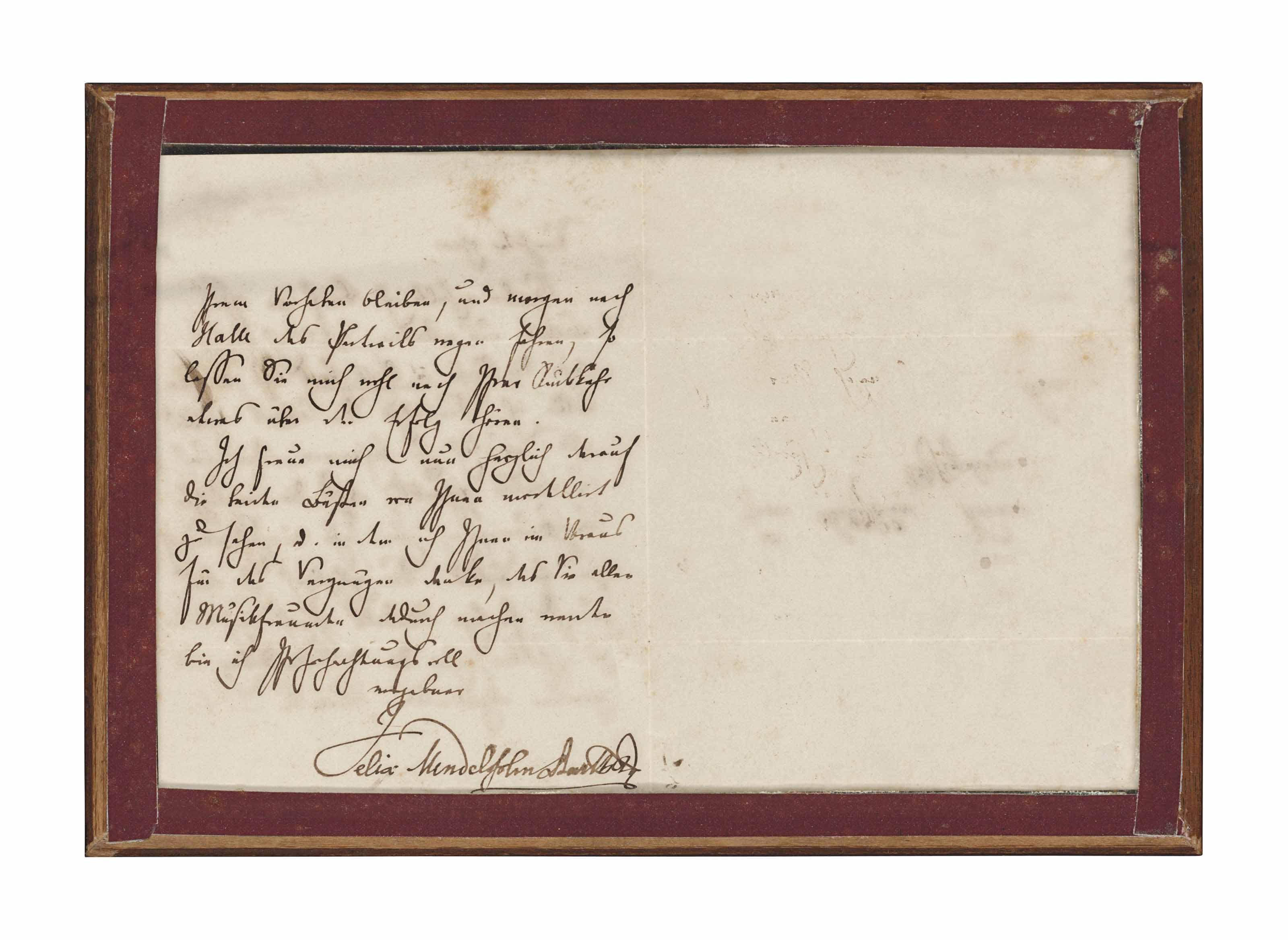 MENDELSSOHN-BARTHOLDY, Felix (1809-1847). Autograph letter signed ('Felix Mendelssohn Bartholdy') to the sculptor Hermann Knaur, Leipzig, 29 November 1842.