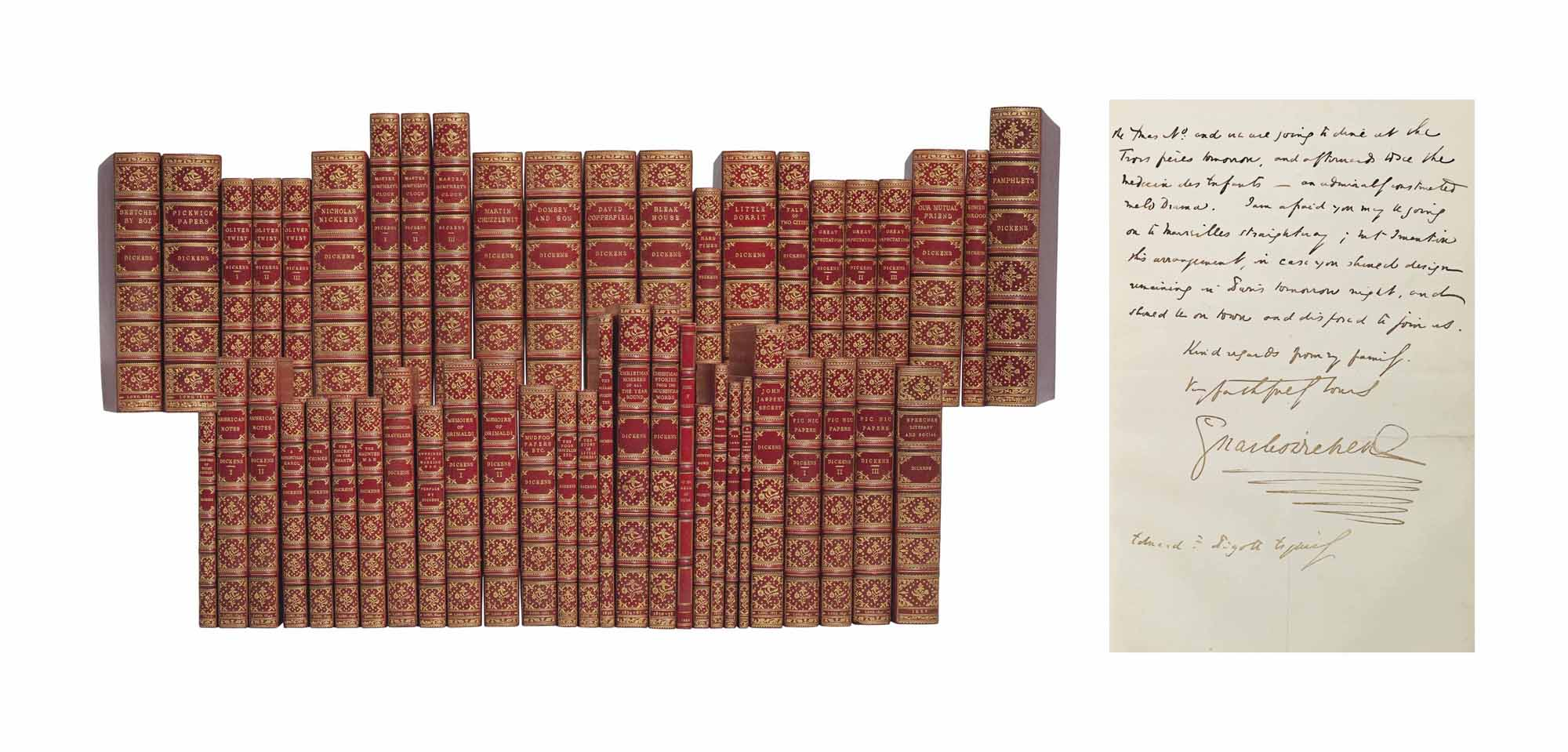 DICKENS, Charles (1812-70) – A COMPLETE SET OF MAJOR AND AN ALMOST COMPLETE SET OF MINOR WORKS, MOST IN FIRST EDITION, THE 49 VOLUMES UNIFORMLY BOUND IN GILT-TOOLED RED MOROCCO BY WALLIS.