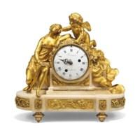 A LOUIS XVI ORMOLU AND WHITE MARBLE MANTEL CLOCK