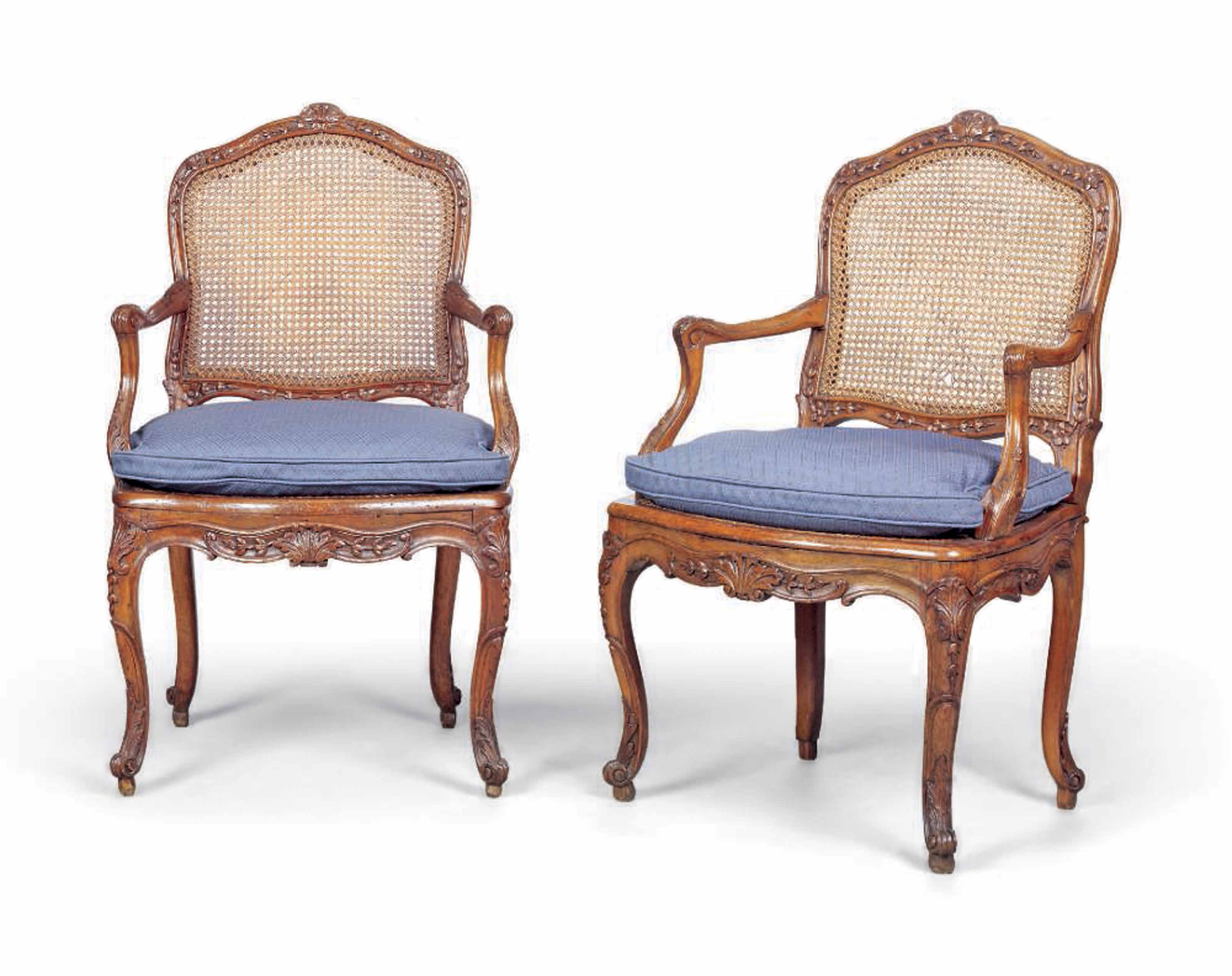A PAIR OF LOUIS XV BEECH CANED