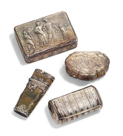 A GROUP OF SILVER SNUFF-BOXES