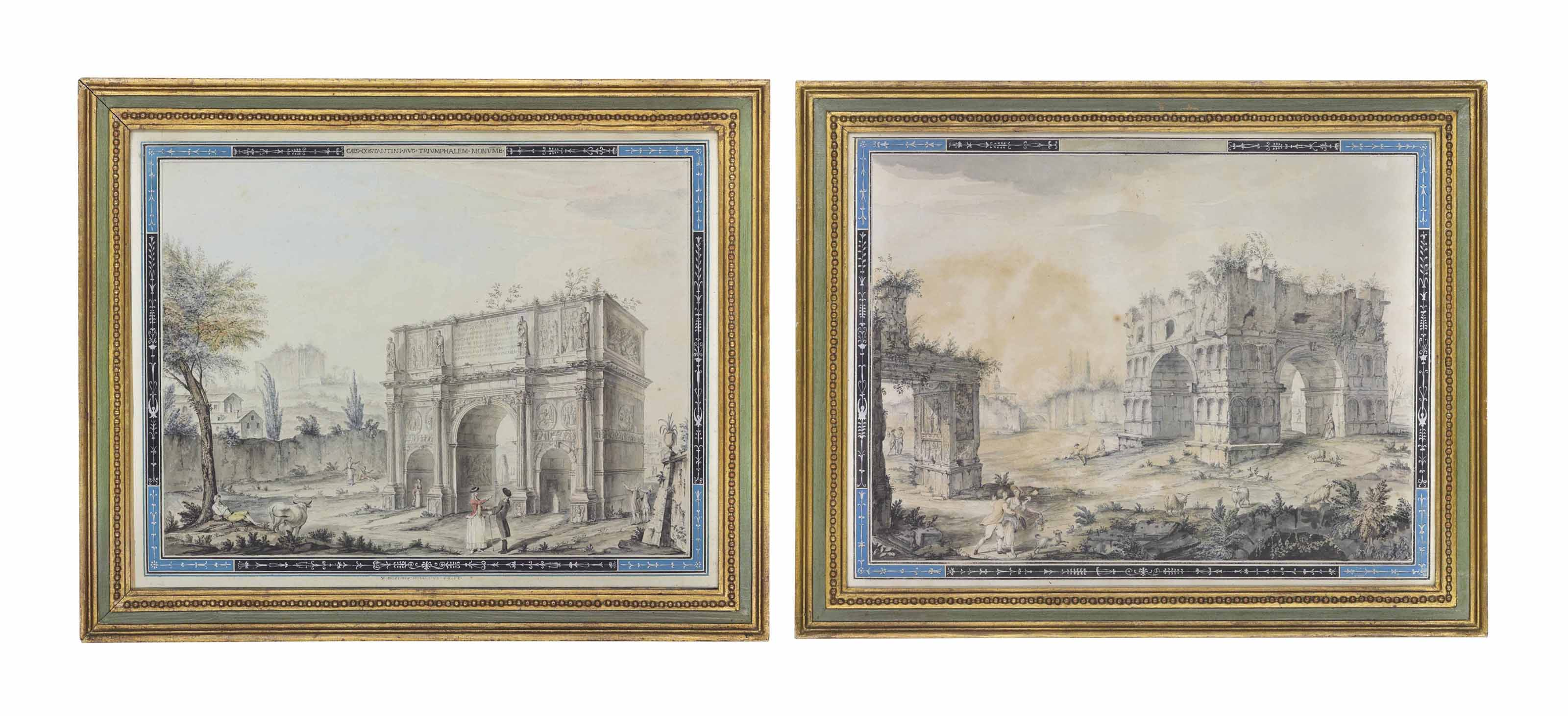 A view of the Arch of Constantine; and A view of a Roman arch, both surrounded by a decorative border