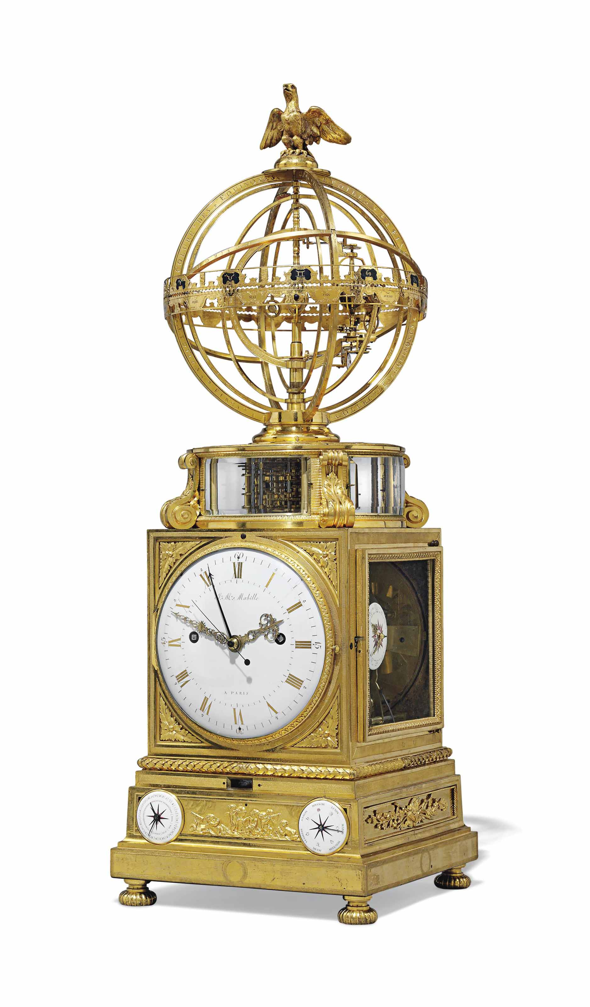 A LOUIS XVI ORMOLU STRIKING TABLE CLOCK WITH CALENDAR, MOONPHASE, EQUATION OF TIME AND TERRESTRIAL 'SPHERE MOUVANTE'