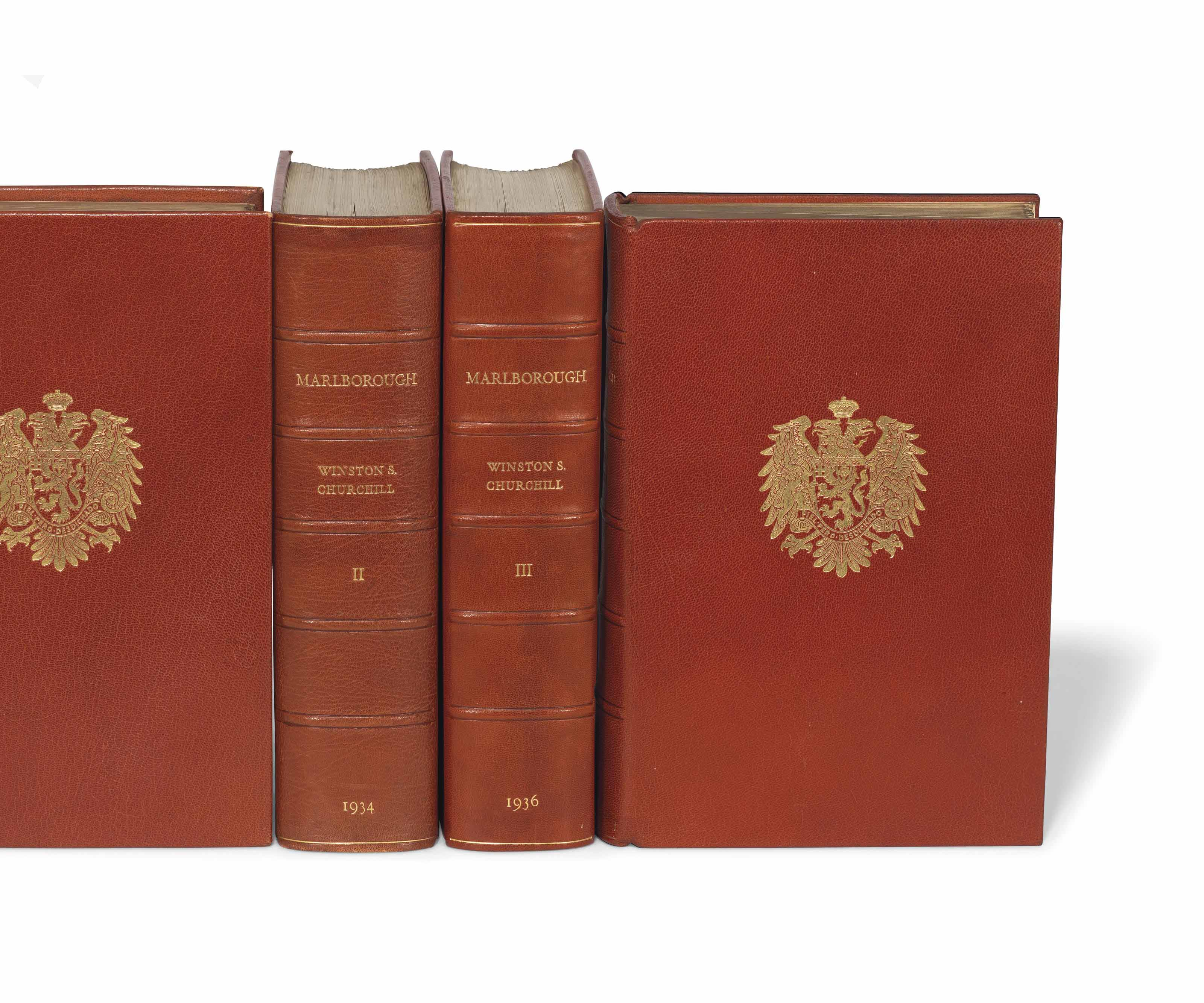 """CHURCHILL, Winston Spencer (1874-1965). Marlborough His Life and Times. London: George G. Harrap, 1933.  4 volumes, 4°. Plates and illustrations. Original tan morocco by Sangorski and Sutcliffe, Marlborough arms stamped in gilt on front covers, spine compartments with raised bands lettered in gilt, top edges gilt, others uncut; later matching morocco-backed clamshell cases by Zaehnsdorf for Asprey.  LIMITED TO 155 COPIES COPIES SIGNED BY CHURCHILL, of which 150 were for sale, this designated a """"special"""" copy. The limited edition was originally issued in card slipcases, but this copy has been elegantly boxed in matching quarter morocco. The trade edition of 17,000 copies was issued in plum buckram. Both the limited and the trade edition of 1933 form the first English edition. Woods A40(a)."""