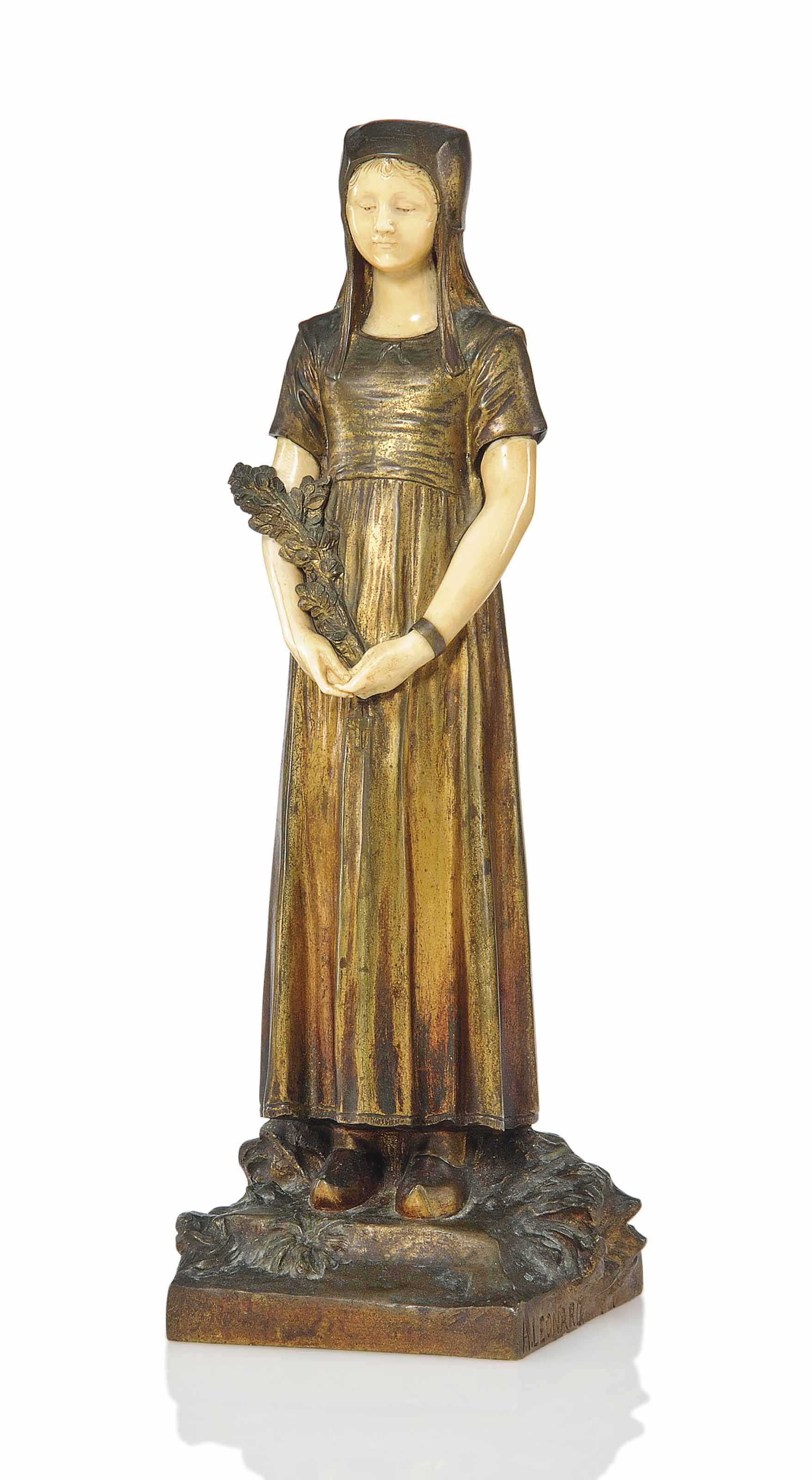 A FRENCH GILT AND PATINATED-BRONZE AND IVORY FIGURE OF A MAIDEN