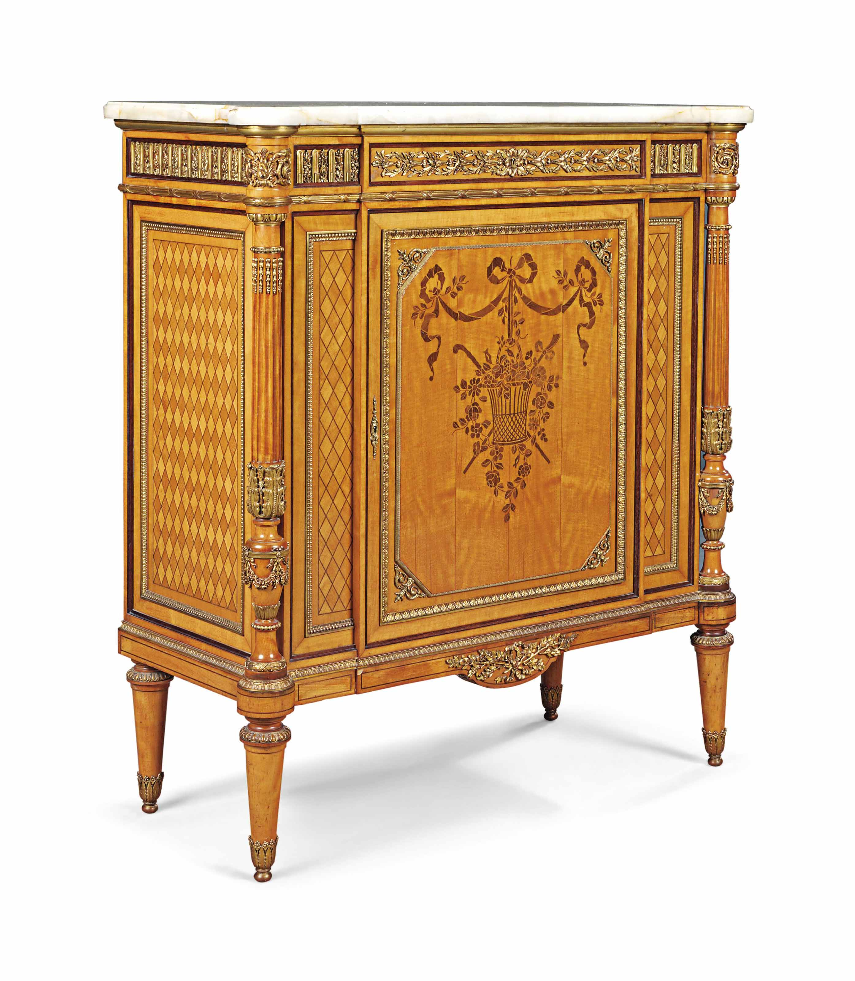 A FRENCH ORMOLU-MOUNTED SATINWOOD MARQUETRY AND PARQUETRY MEUBLE A HAUTEUR D'APPUI