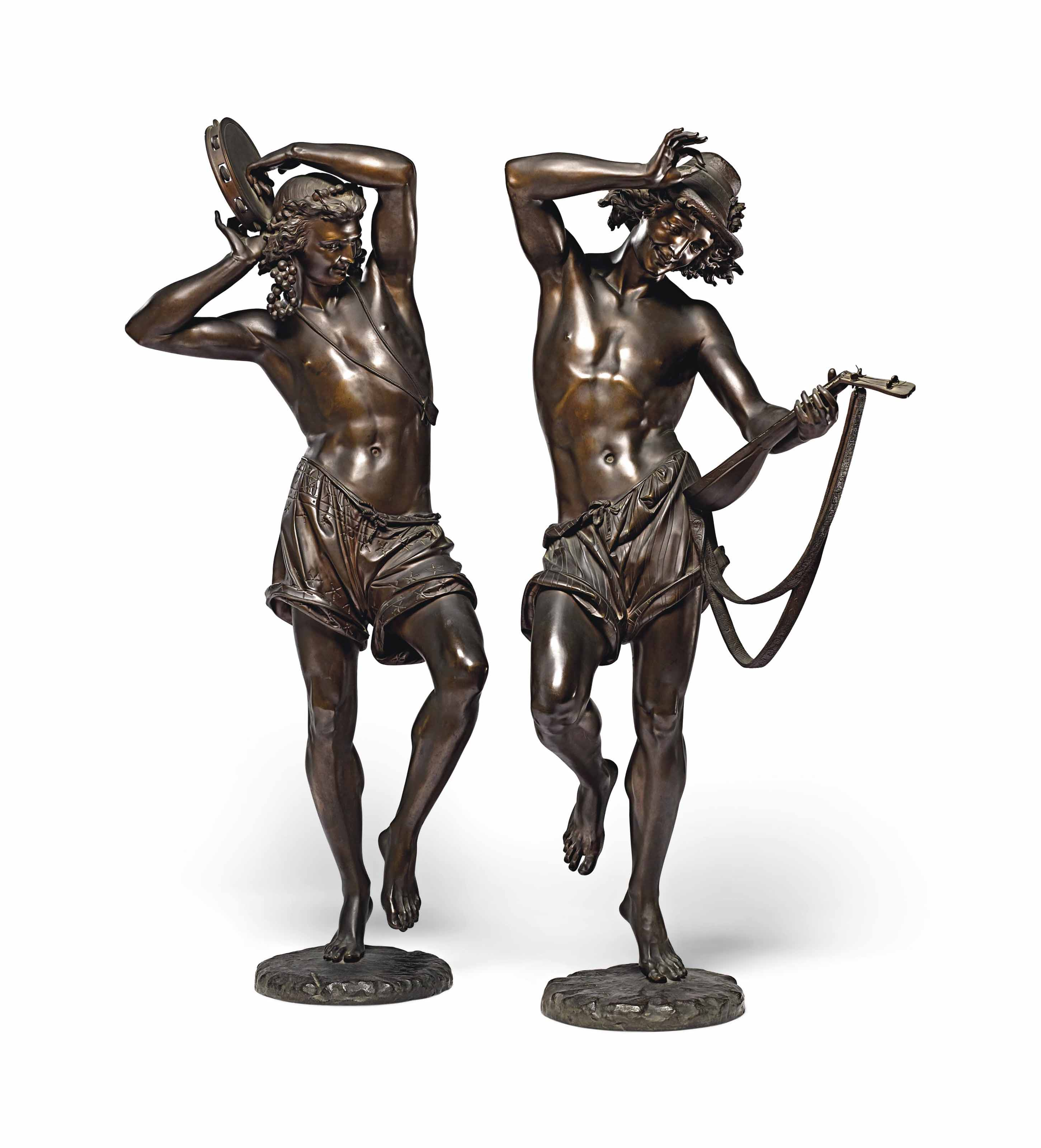 A PAIR OF FRENCH PATINATED-BRONZE FIGURES ENTITLED 'DANSEURS NAPOLITAINS'