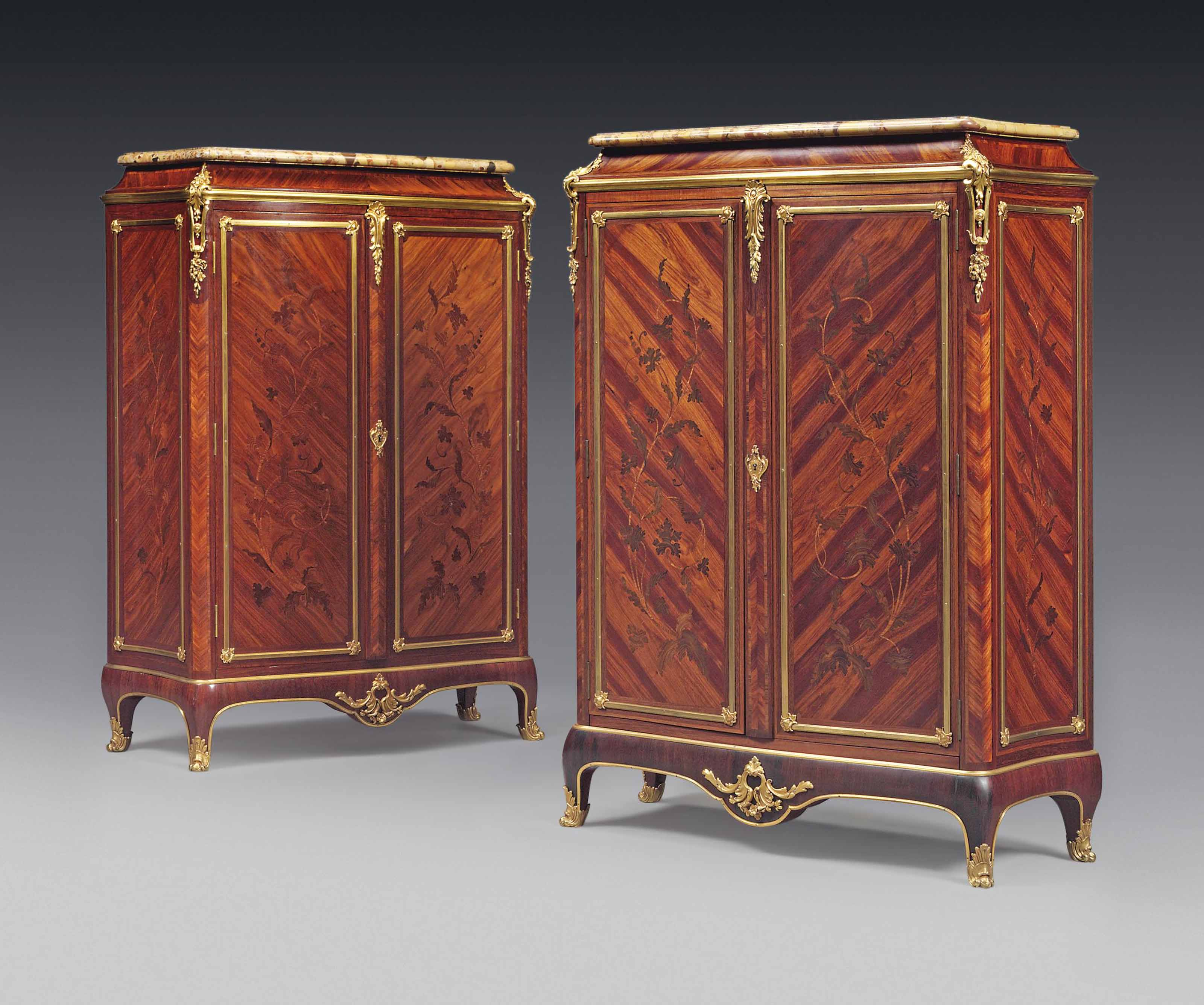 A PAIR OF FRENCH ORMOLU-MOUNTED KINGWOOD, TULIPWOOD AND BOIS DU BOUT MARQUETRY MEUBLES À HAUTEUR D'APPUI