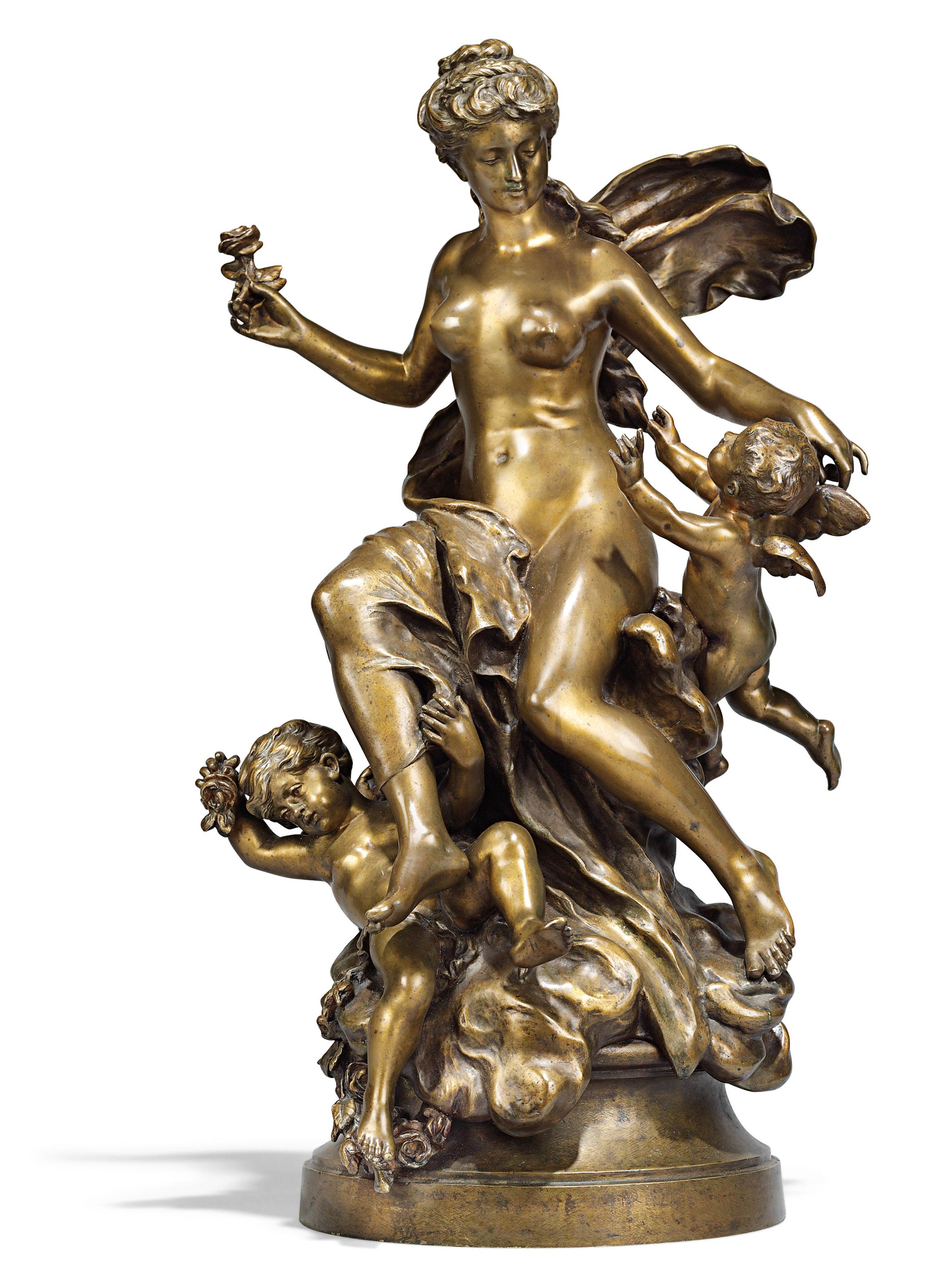 A FRENCH PATINATED-BRONZE FIGURAL GROUP OF VENUS AND PUTTI, ENTITLED 'JEUNE FEMME ET DEUX ENFANTS AILES'