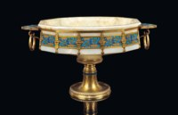 A NAPOLEON III ORMOLU AND CHAMPLEVE-ENAMEL MOUNTED ONYX CENTREPIECE
