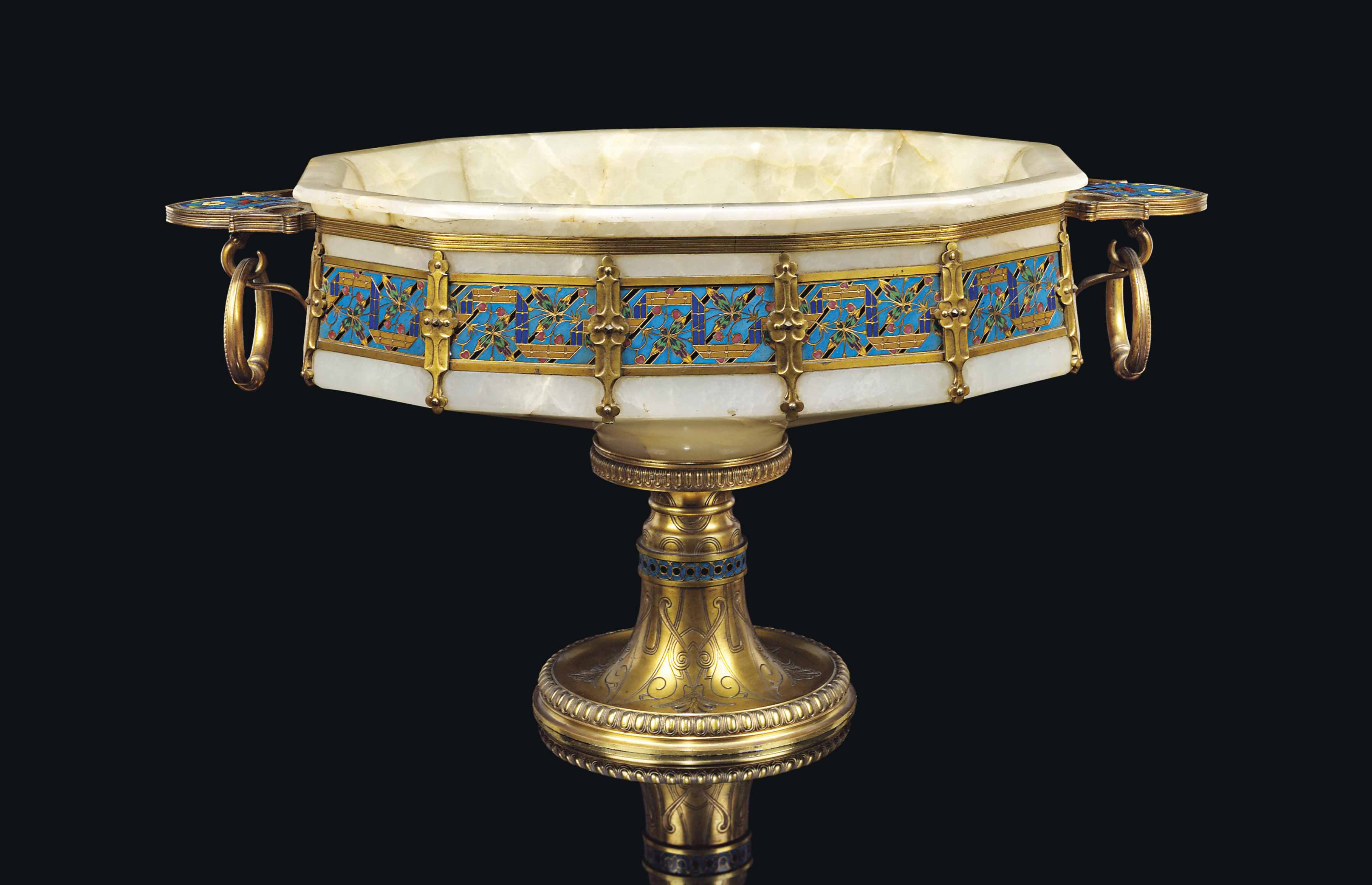 A NAPOLEON III ORMOLU AND CHAMPLEVE-ENAMEL MOUNTED ONYX CENTREPIECE
