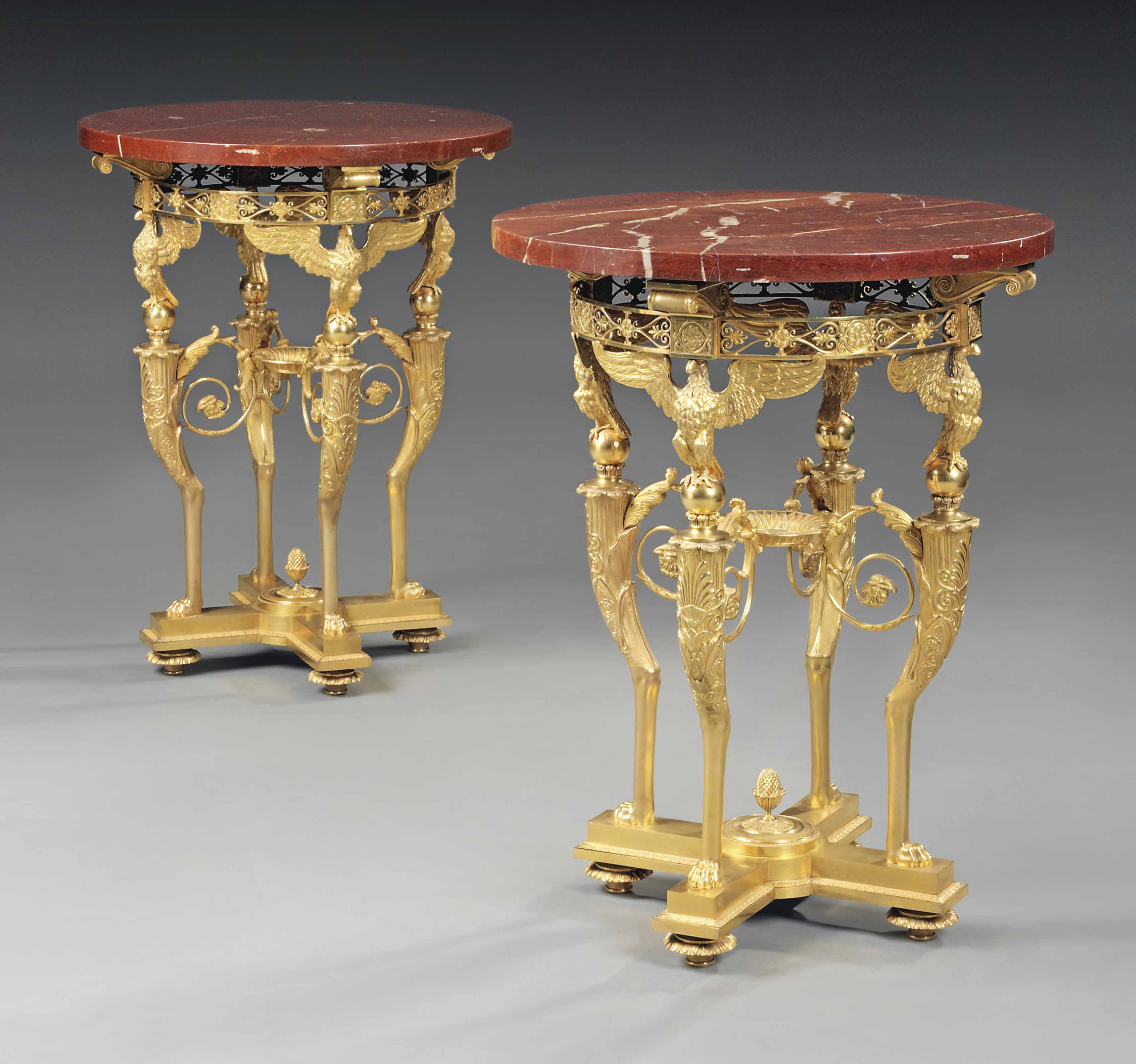 A PAIR OF FRENCH ORMOLU AND MARBLE GUERIDONS