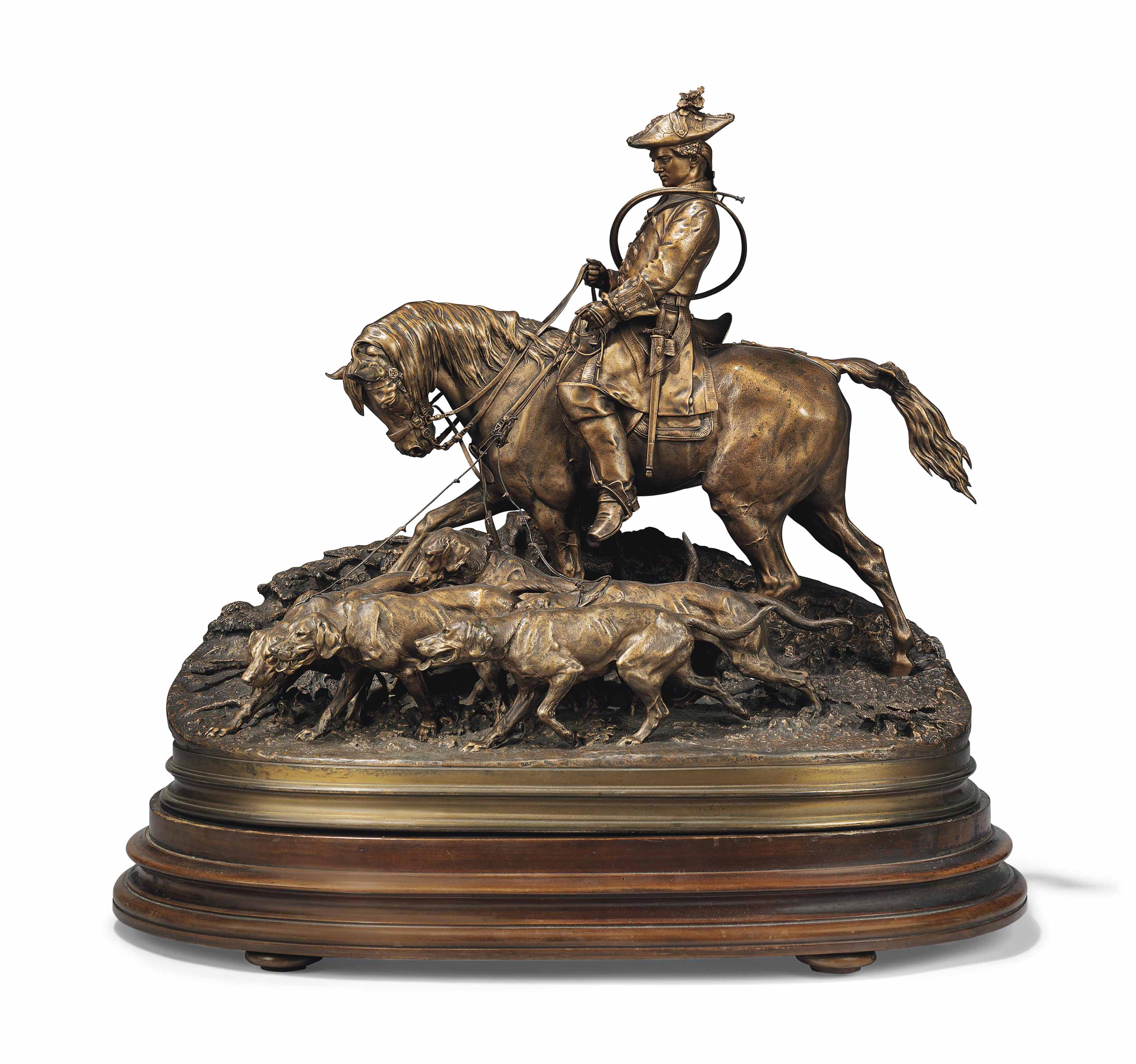 A FRENCH PATINATED-BRONZE EQUESTRIAN GROUP, ENTITLED 'VALET DE CHASSE (LOUIS XV) ET SA HARDE' (HUNTING VALET (LOUIS XV) AND HIS HOUNDS)