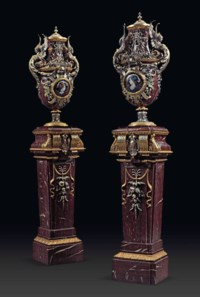 A PAIR OF NAPOLEON III GILT AND SILVERED-BRONZE-MOUNTED ROUGE GRIOTTE MARBLE VASES AND PEDESTALS