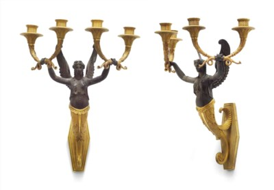 A PAIR OF ORMOLU AND PATINATED