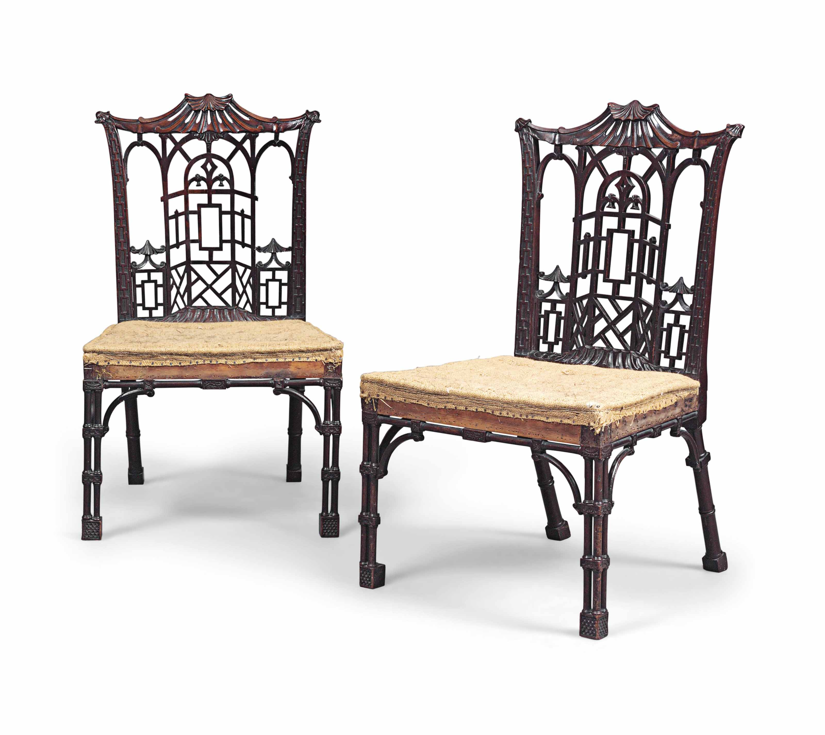 A PAIR OF EARLY GEORGE III 'CHINESE CHIPPENDALE' MAHOGANY SIDE CHAIRS