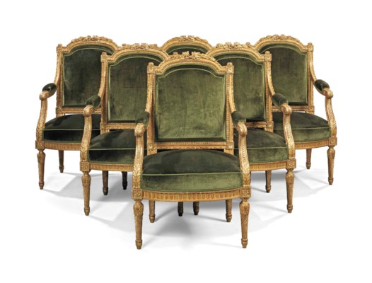 a set of six empire giltwood fauteuils by francois honore georges and georges jacob circa. Black Bedroom Furniture Sets. Home Design Ideas