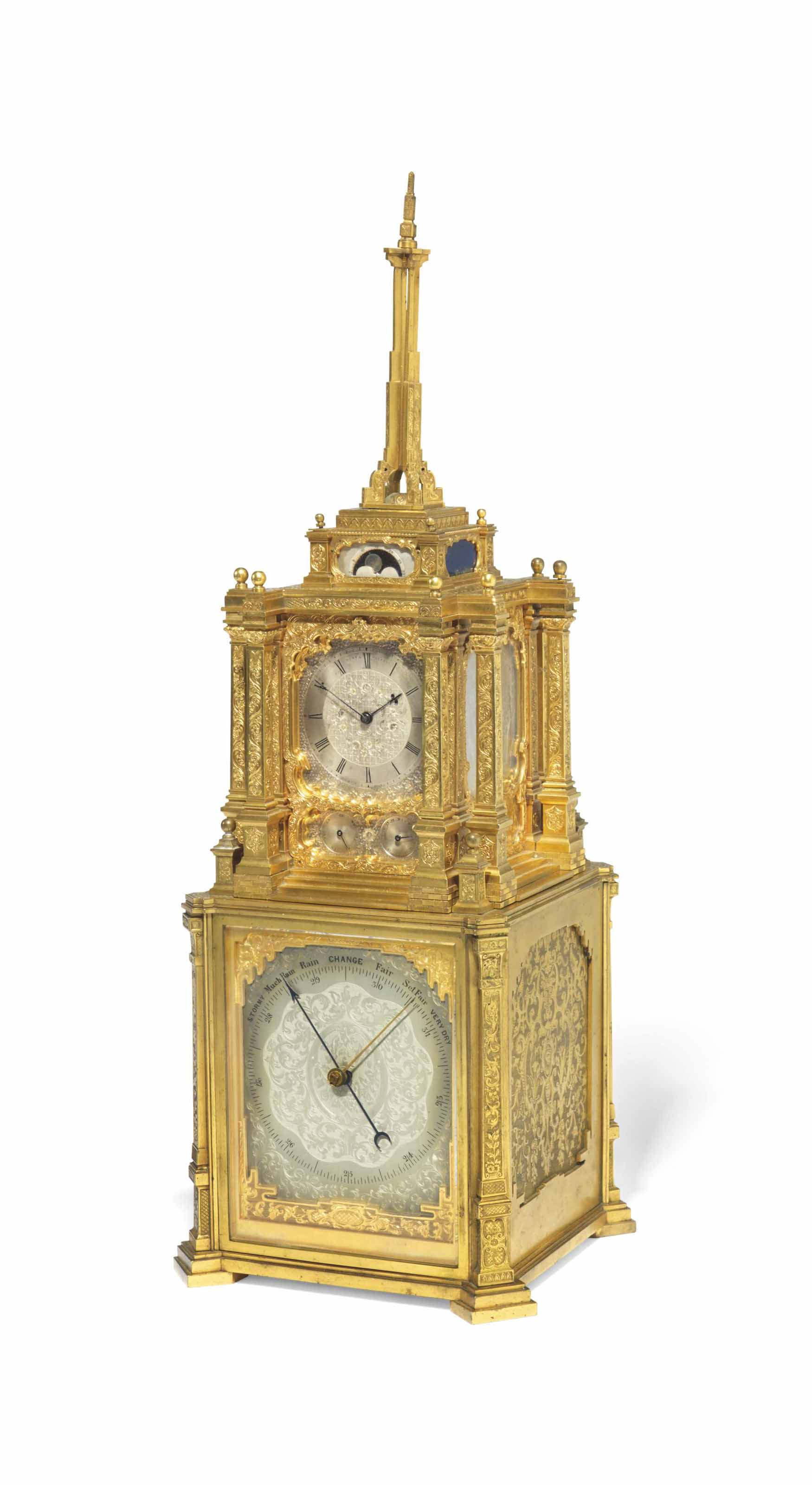 A VICTORIAN GILT-BRASS STRIKING TABLE CLOCK WITH MOONPHASE, CALENDAR AND BAROMETER
