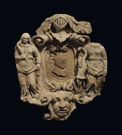 A STONE COAT-OF-ARMS, PROBABLY