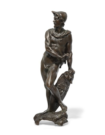 A BRONZE FIGURE OF MARS