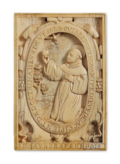 AN IVORY PLAQUE DEPICTING SAIN